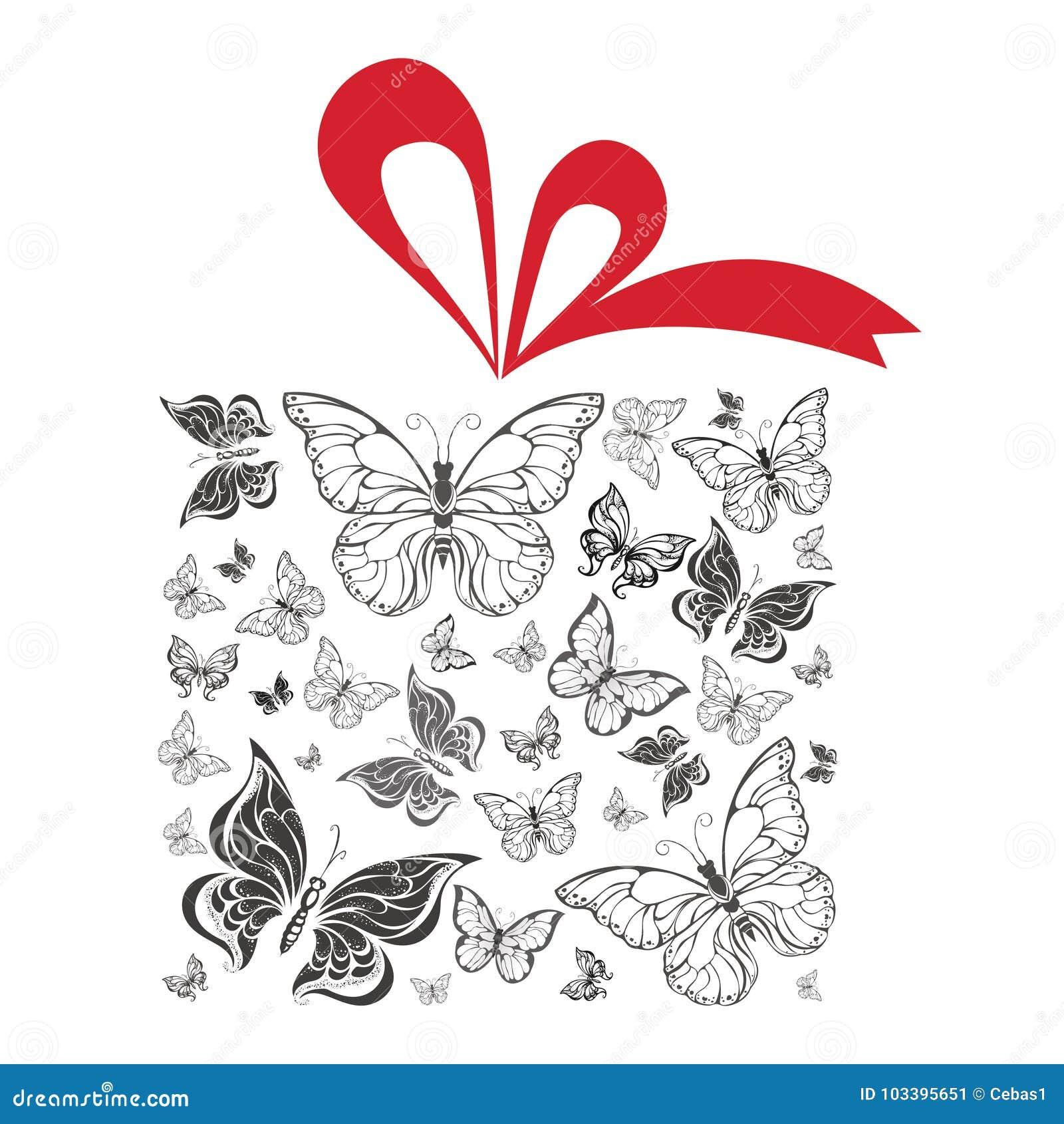 De doos van de vlindergift met rode lint vectorillustratie