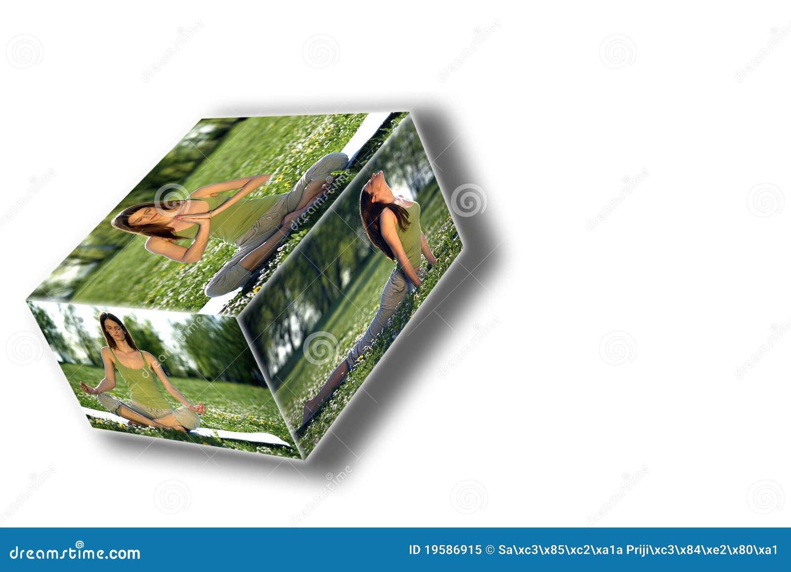 De dooscollage van de yoga in openlucht