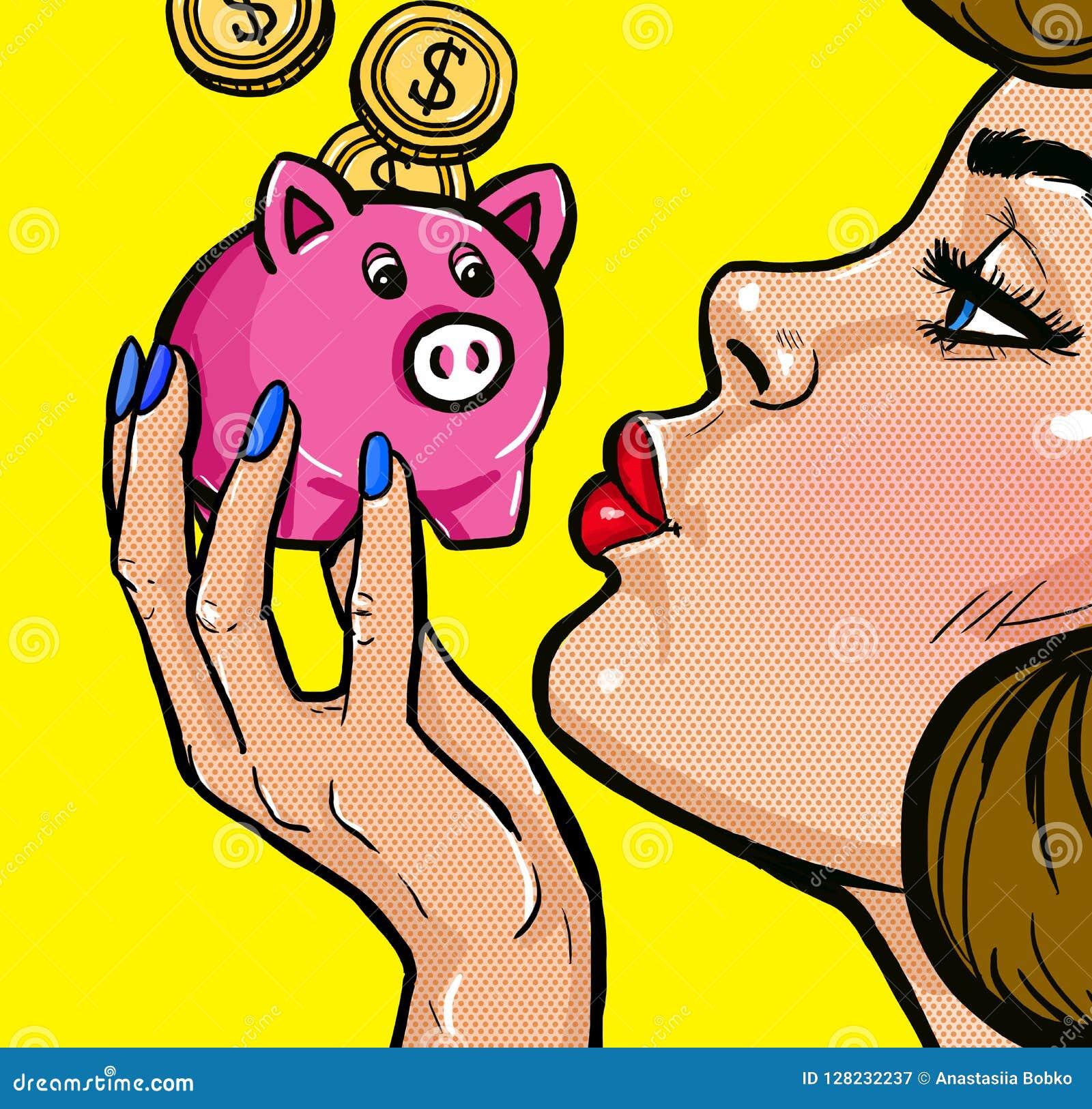 De dos mangos besando una hucha en estilo del arte pop Cartel del arte pop del vintage Mujer con el dinero