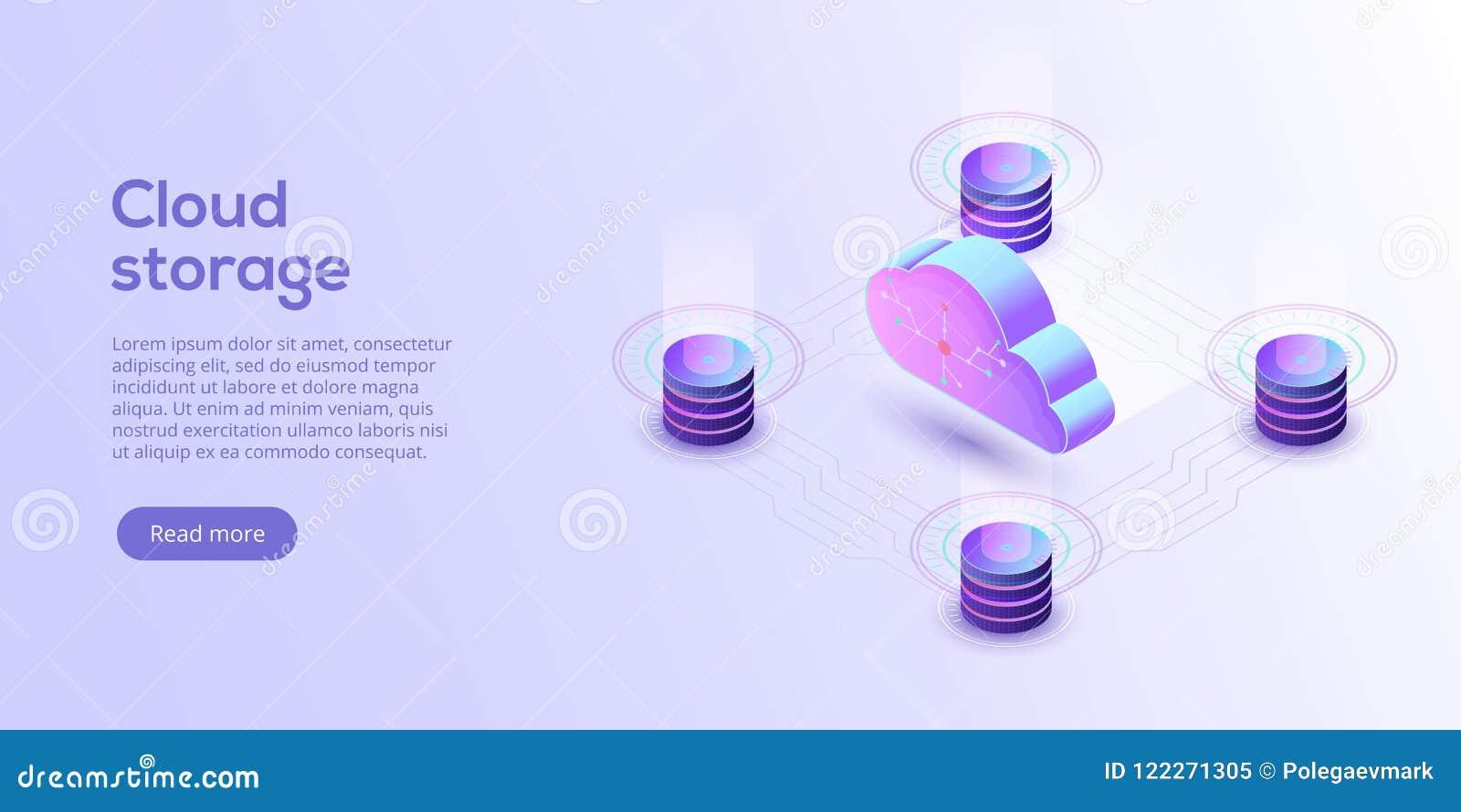 De download isometrische vectorillustratie van de wolkenopslag Digitaal Se
