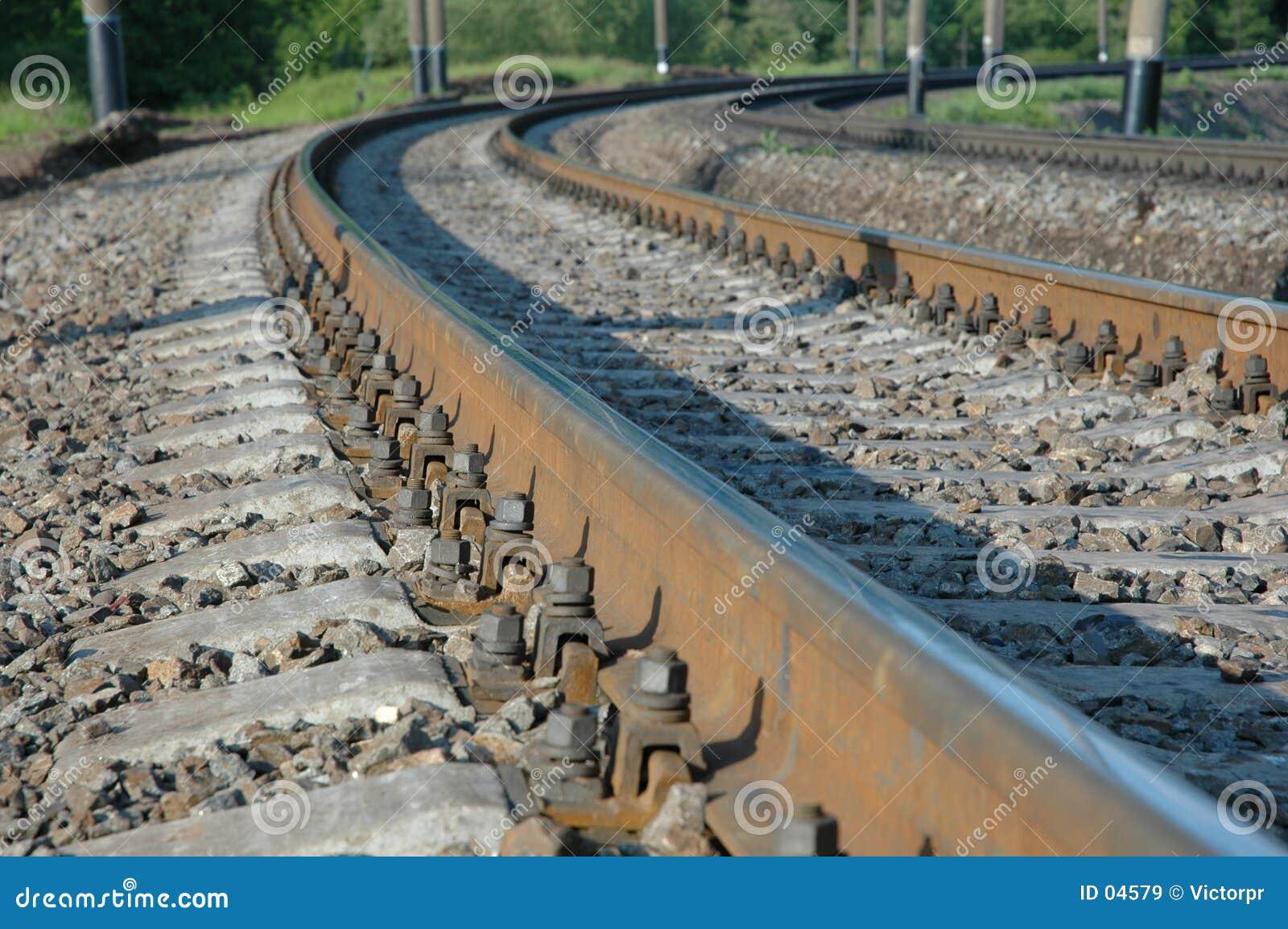 De draaien van de spoorweg aan het recht