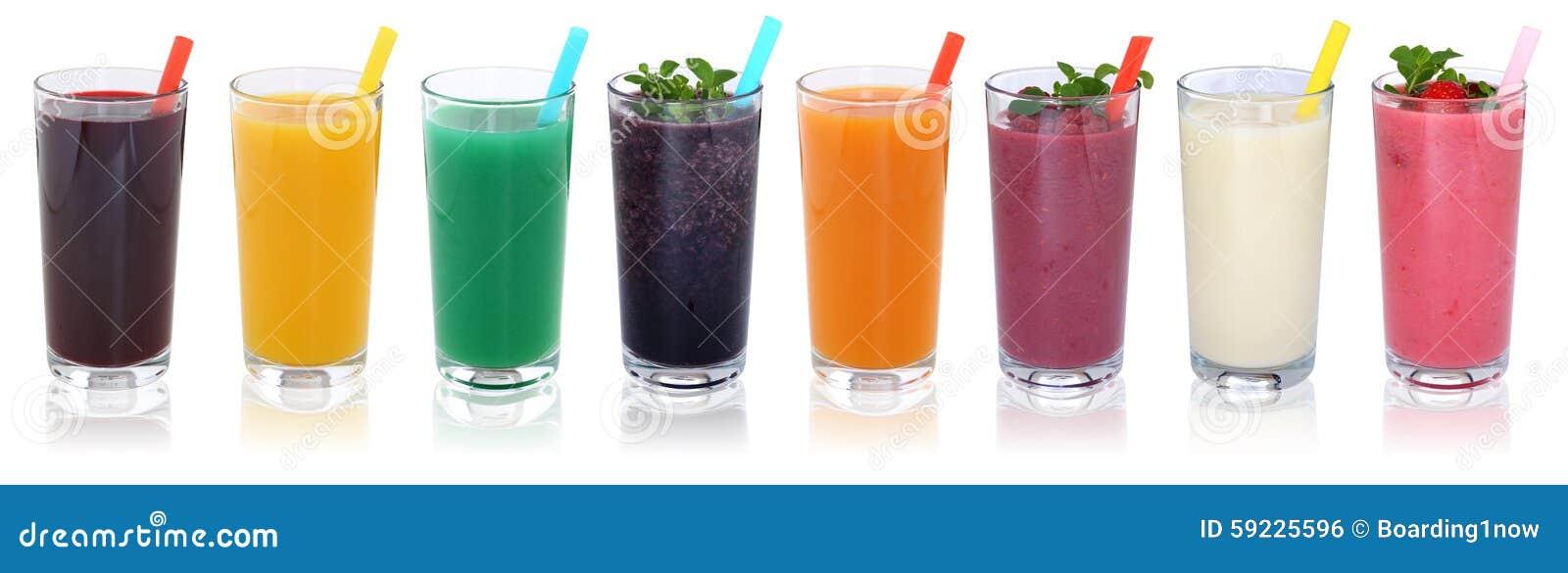 De dranken van het Smoothievruchtensap smoothies met vruchten op een rij isola