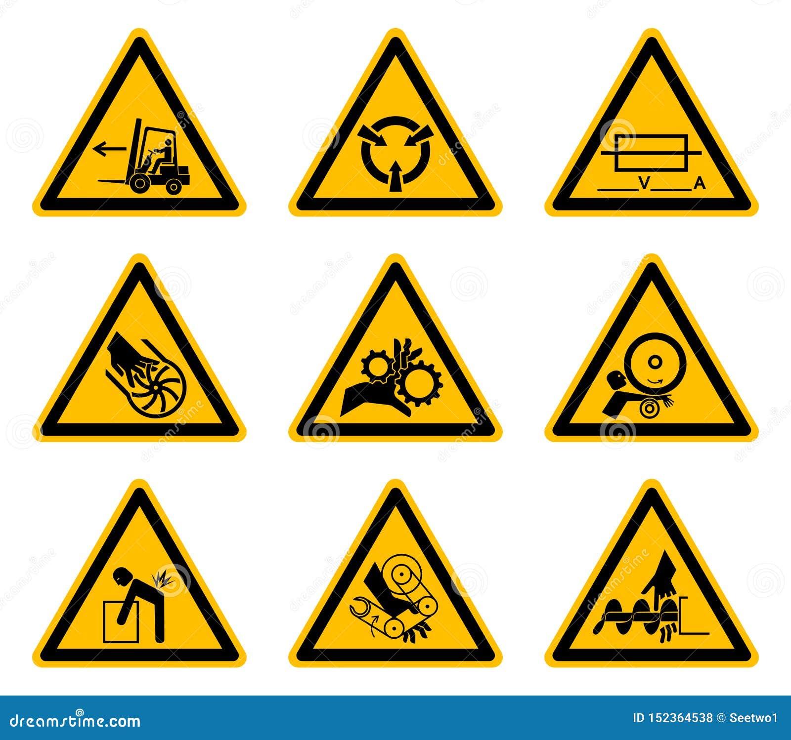 De driehoekige de Symbolenetiketten van het Waarschuwingsgevaar isoleren op Witte Achtergrond, Vectorillustratie EPS 10
