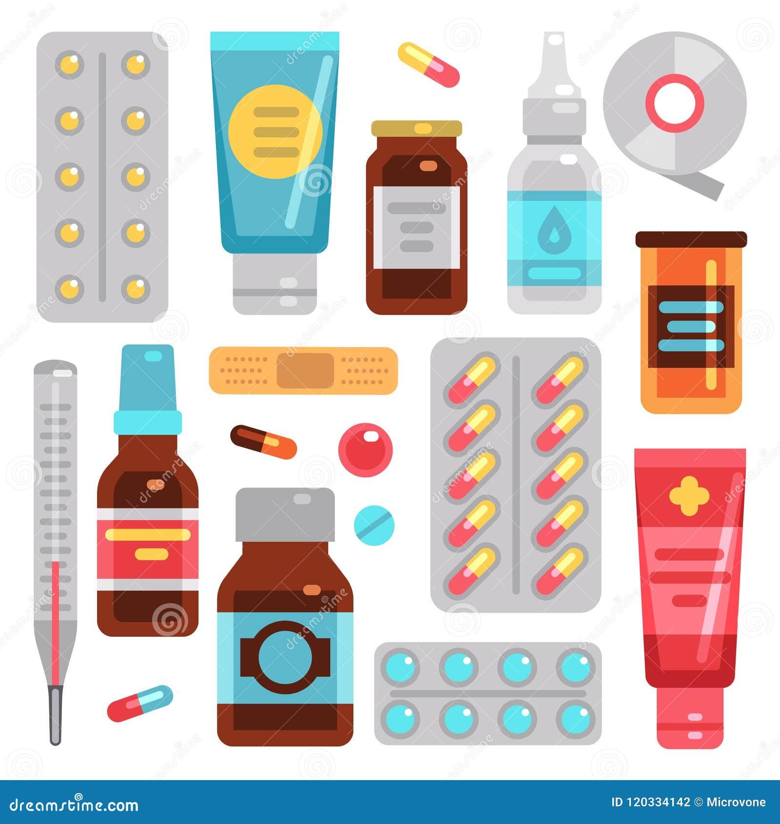 De drugs van de geneeskundeapotheek, pillen, geneesmiddelflessen en medische apparatuur vector vlakke pictogrammen