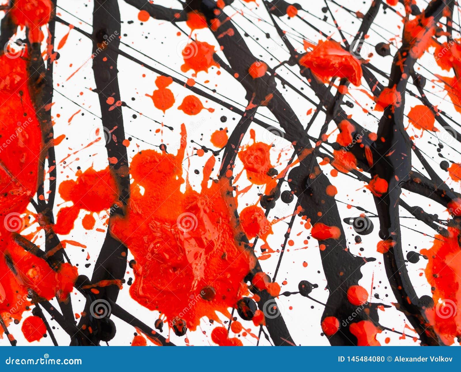 De druipende zwarte en rode plonsen, de dalingen en de sleep van de verf Stromende stookolie