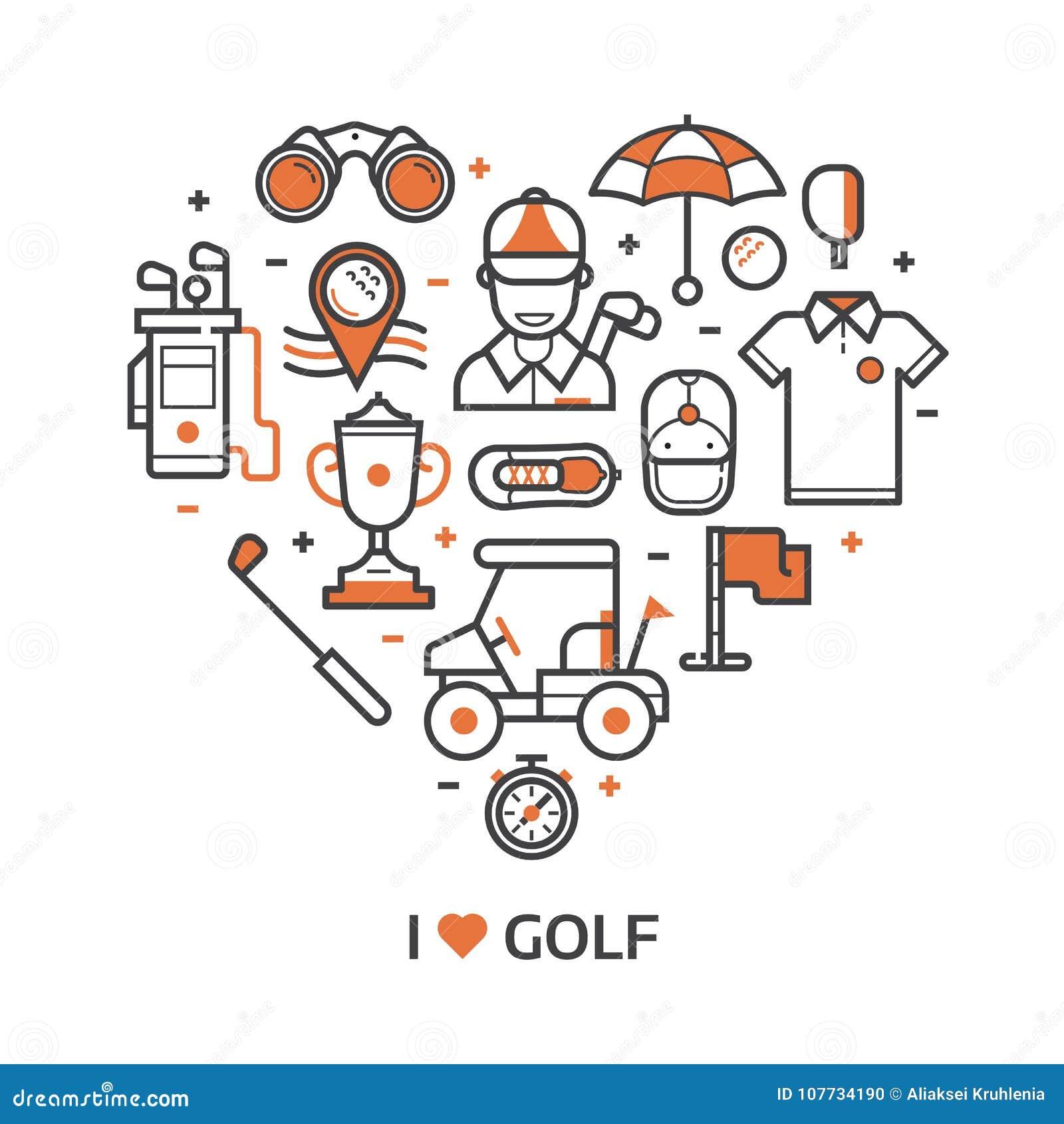 De Druk van het spelgolf met Golfpictogrammen