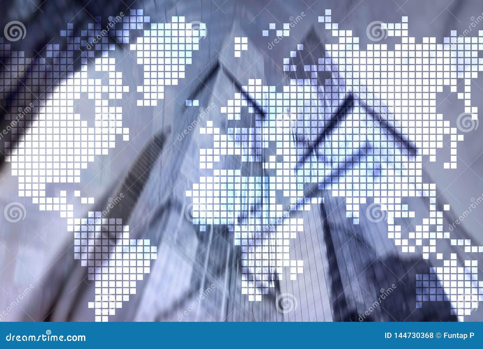 De dubbele kaart van de blootstellingswereld op wolkenkrabberachtergrond Mededeling en globaal bedrijfsconcept