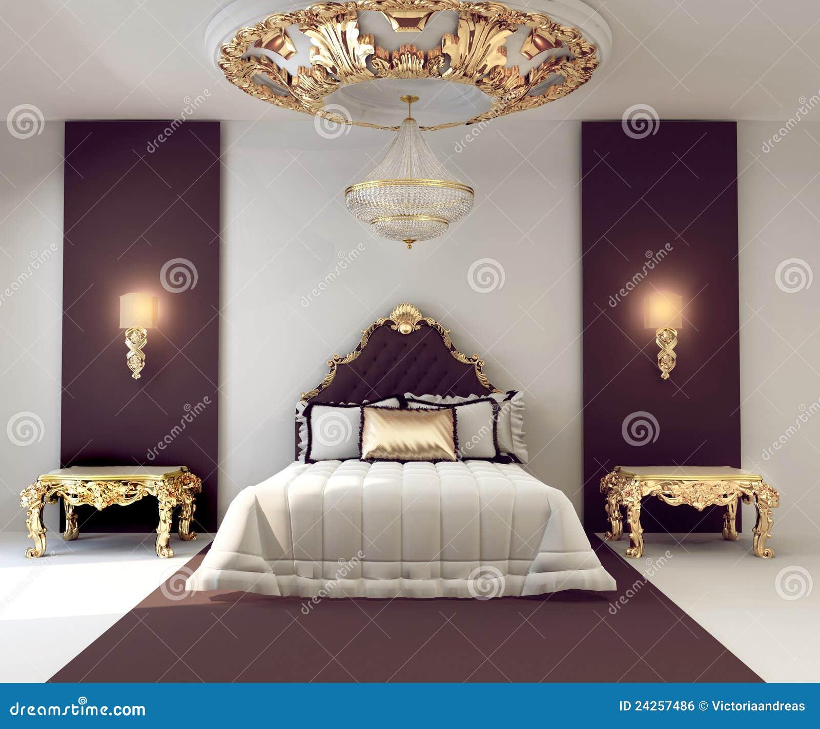 de dubbele slaapkamer van de luxe met gouden meubilair