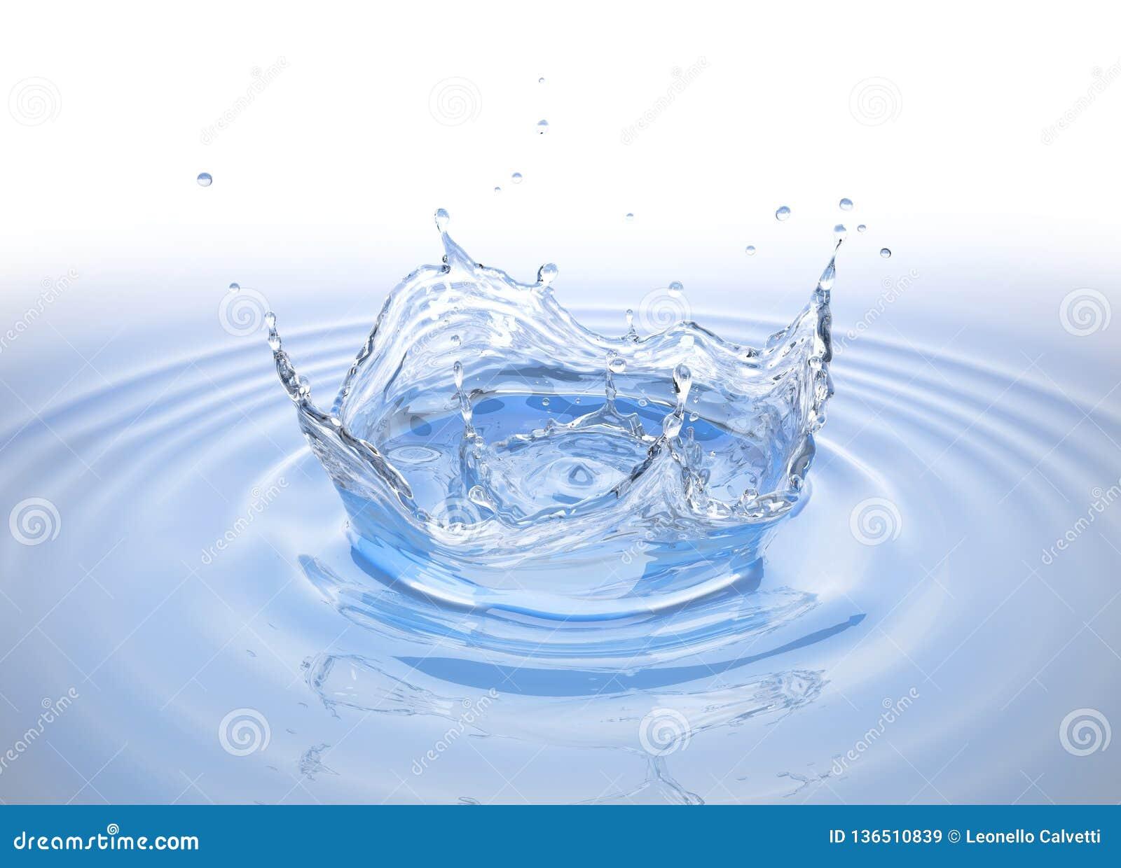 De duidelijke plons van de waterkroon in waterpool met rimpelingen