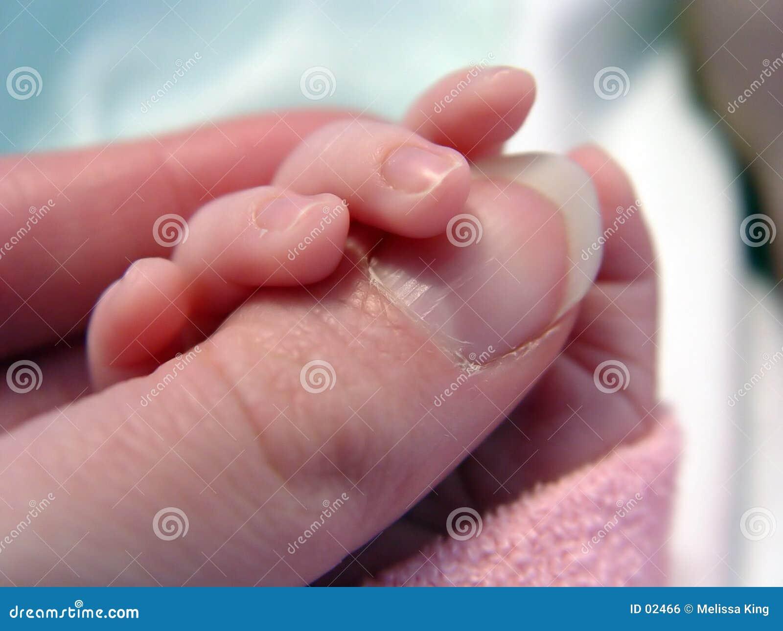 De Duim van de Holding van de baby