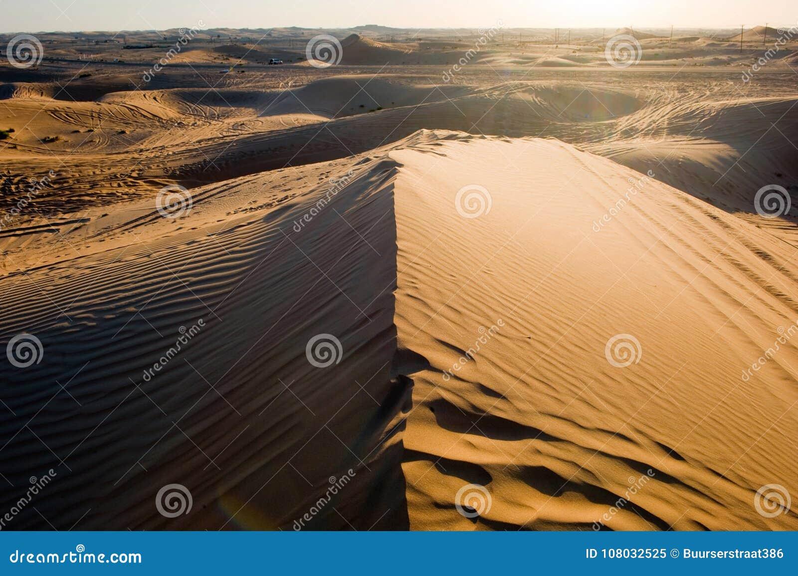 De duinen van het zand in woestijn