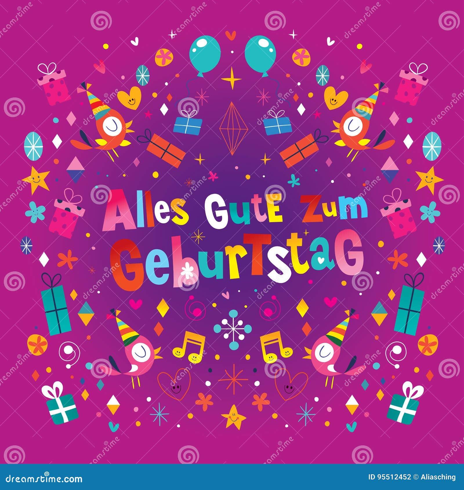 De Duitse Gelukkige Verjaardag Van Allesgute Zum Geburtstag