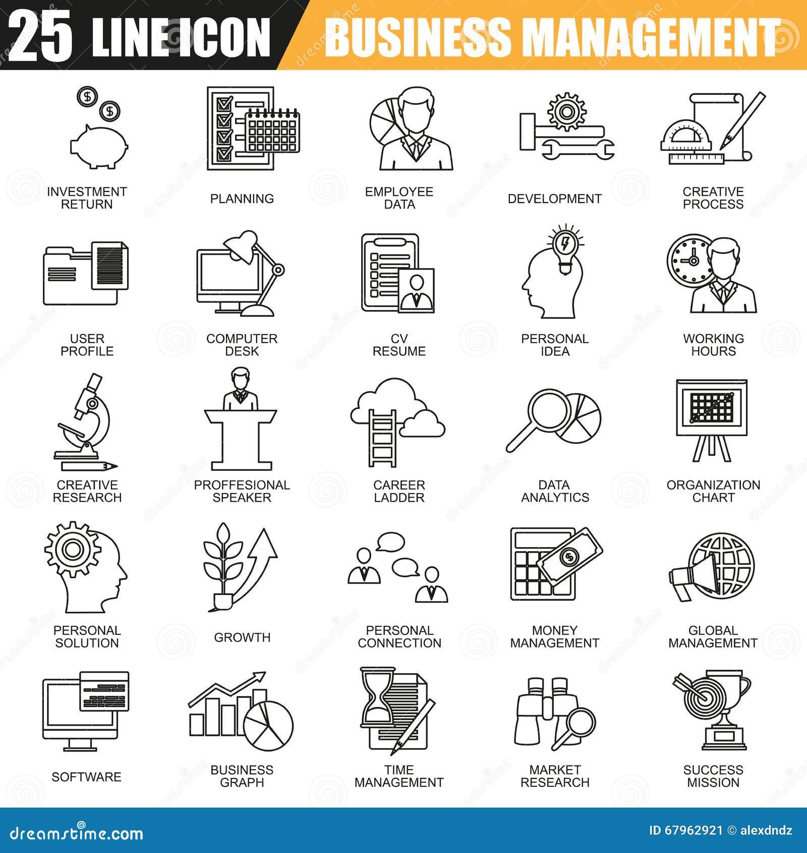 De dunne reeks van lijnpictogrammen van beheer, bedrijfsleiding opleiding en collectieve carrière