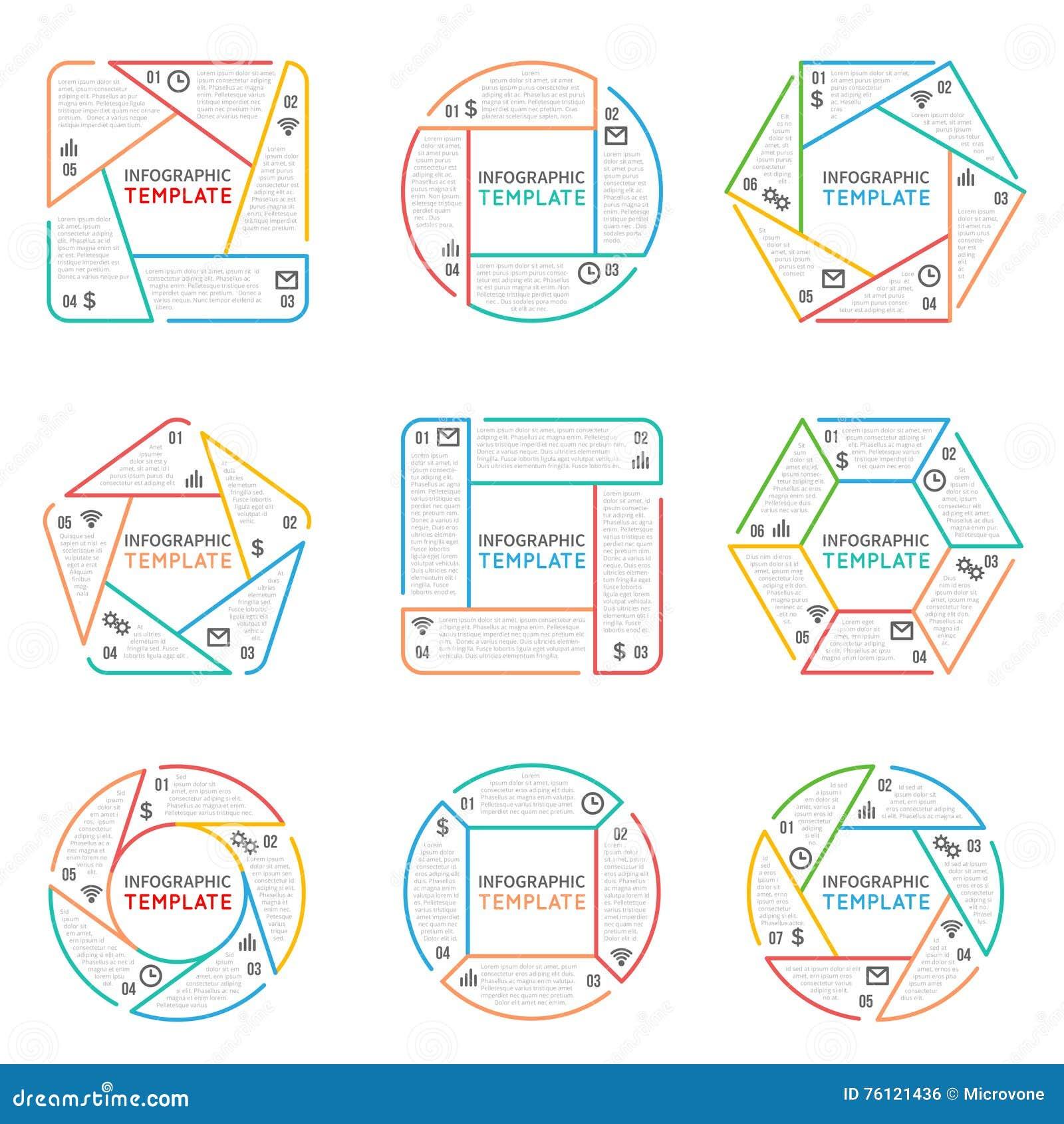 De dunne vectorelementen van lijninfographics voor bedrijfspresentatie met de stappen en de processen van optiesdelen