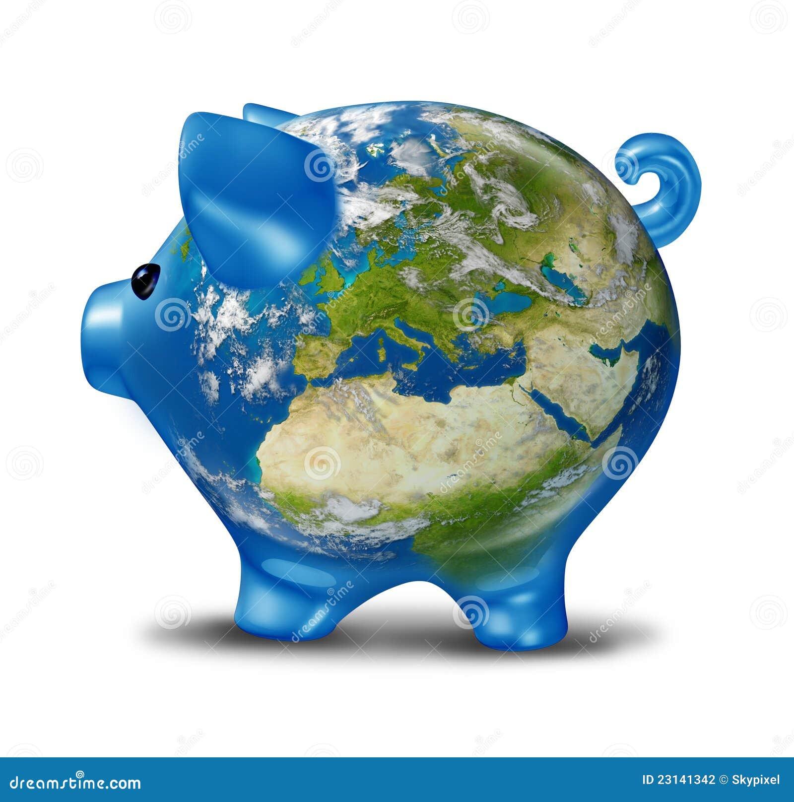 De economische crisis van europa als spaarvarken van de kaart van de wereld stock illustratie - Basket thuis van de wereld ...