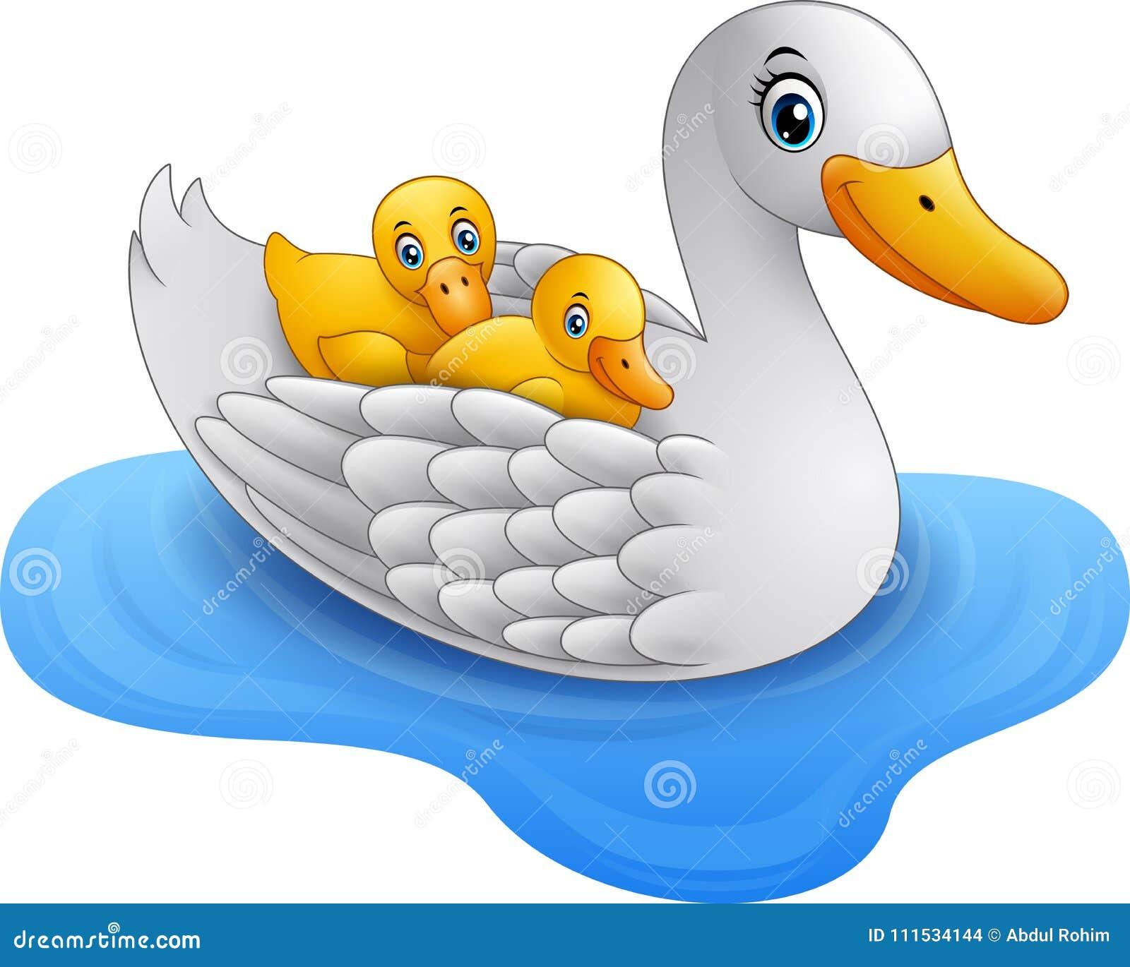 De eend van de beeldverhaalmoeder met de vlotters van de babyeend op water
