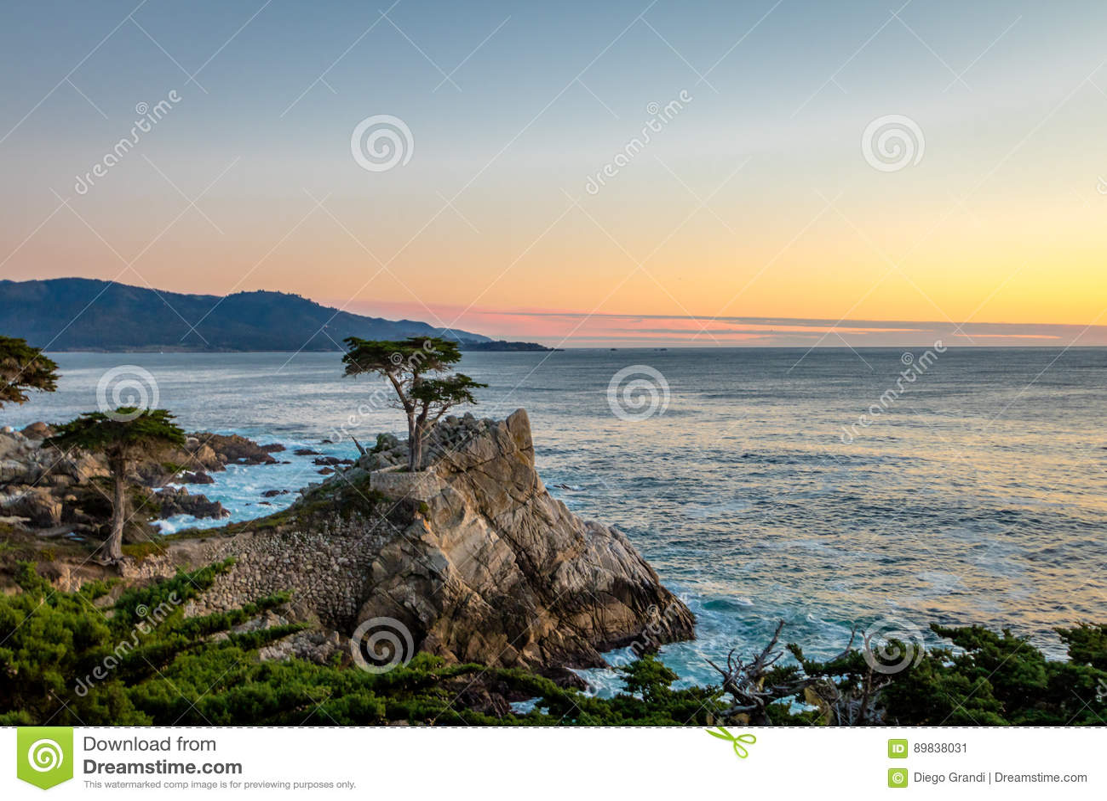 De eenzame mening van de Cipresboom bij zonsondergang langs beroemde 17 Mijlaandrijving - Monterey, Californië, de V.S.