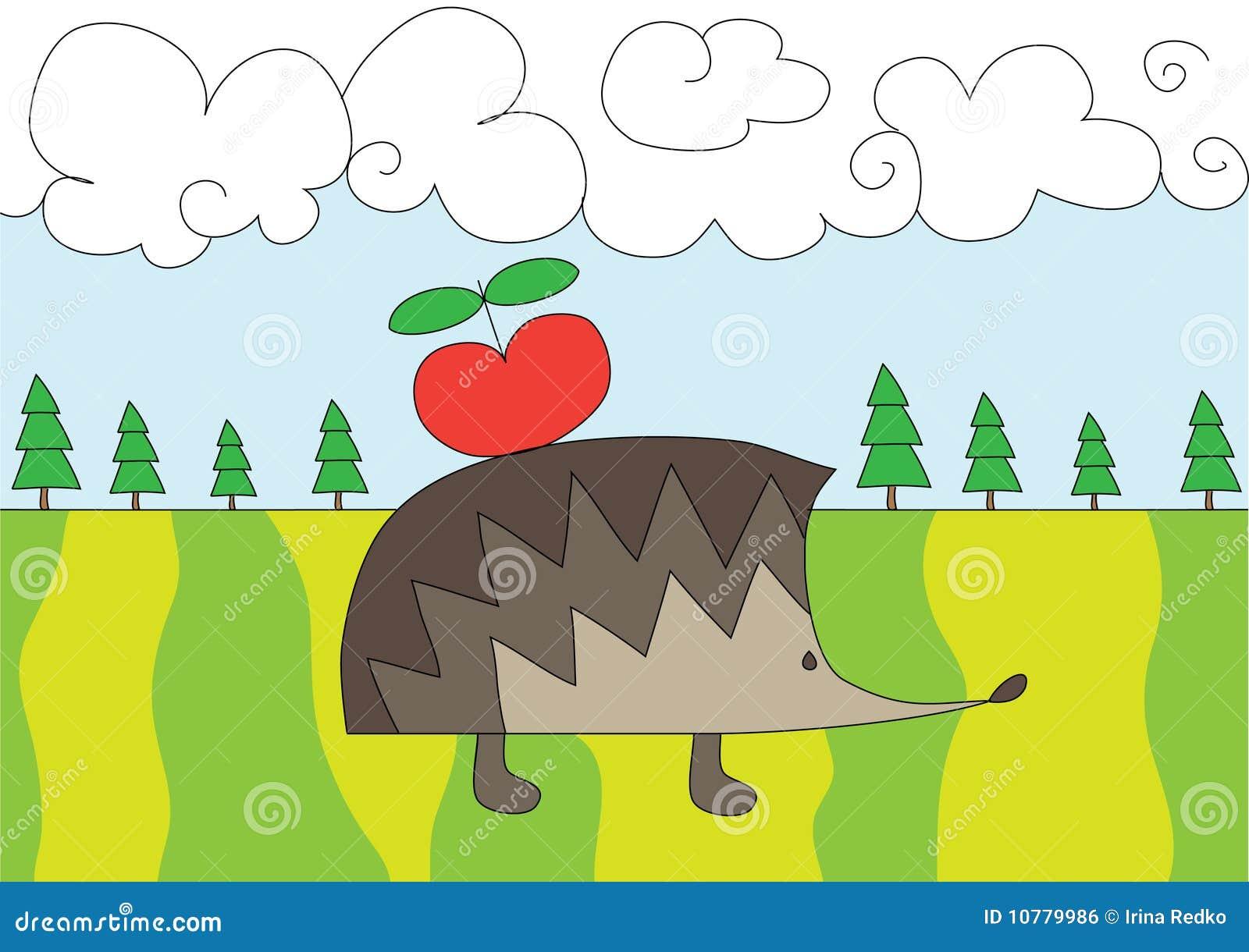 De egel van Nice met rode appel op de open plek