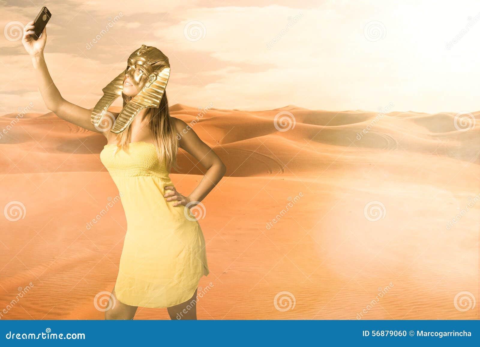 De Egyptische sfinx neemt een selfie