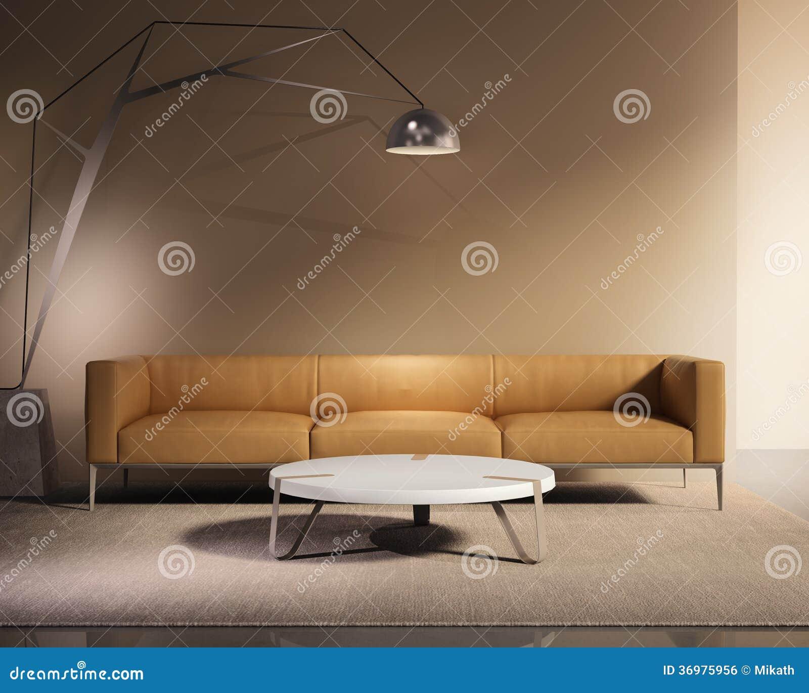 De eigentijdse minimale bank van het tabaksleer met deken - Afbeelding eigentijdse woonkamer ...