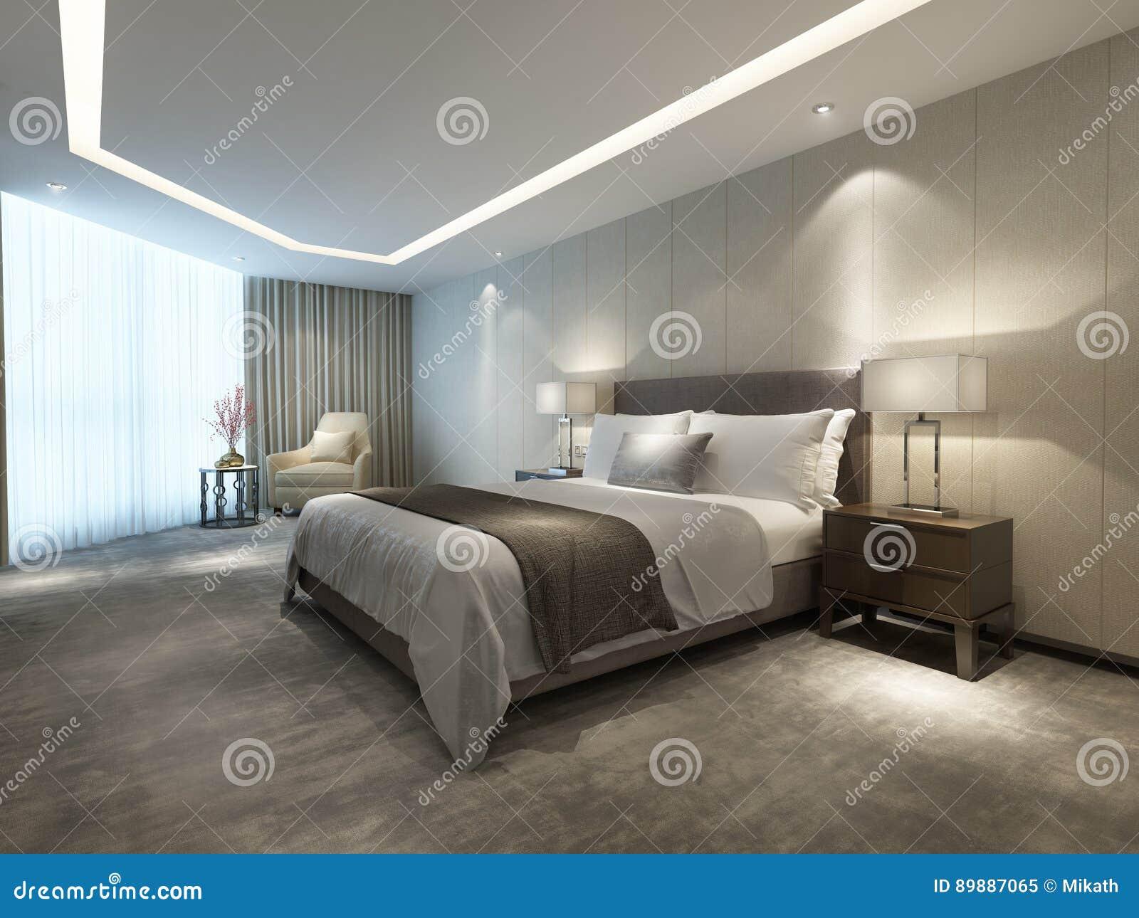De eigentijdse moderne slaapkamer van het luxehotel stock