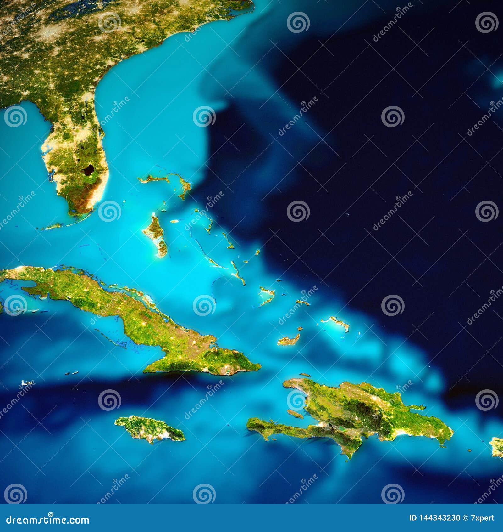 De eilandenkaart van de Cara?ben en van de Bahamas