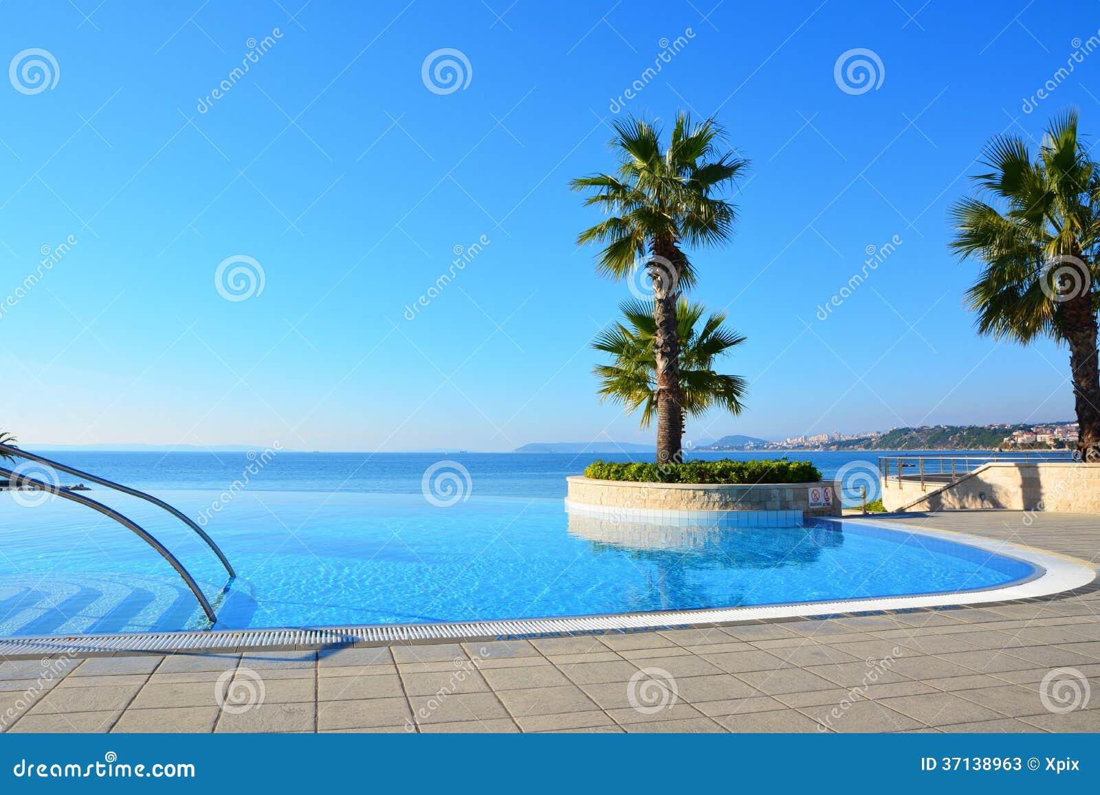 De eindeloze palm van zwembadnd