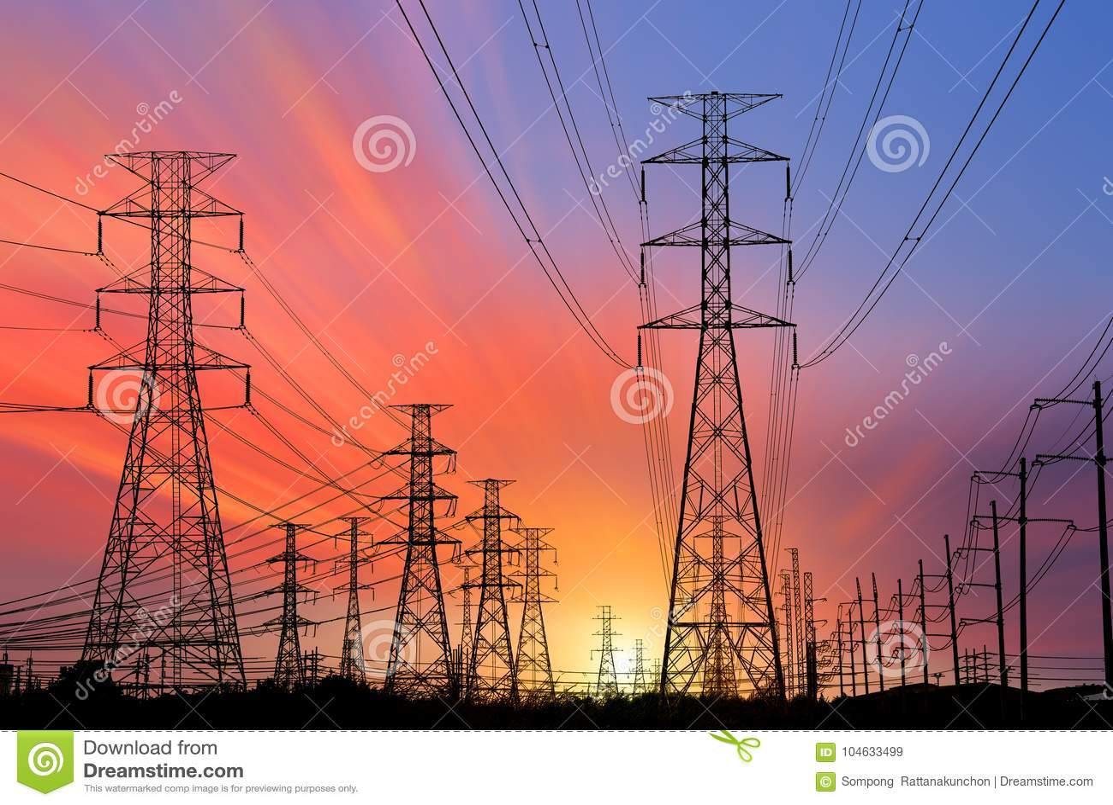 Download De Elektrische Toren Van De Silhouethoogspanning Stock Afbeelding - Afbeelding bestaande uit techniek, megawatt: 104633499