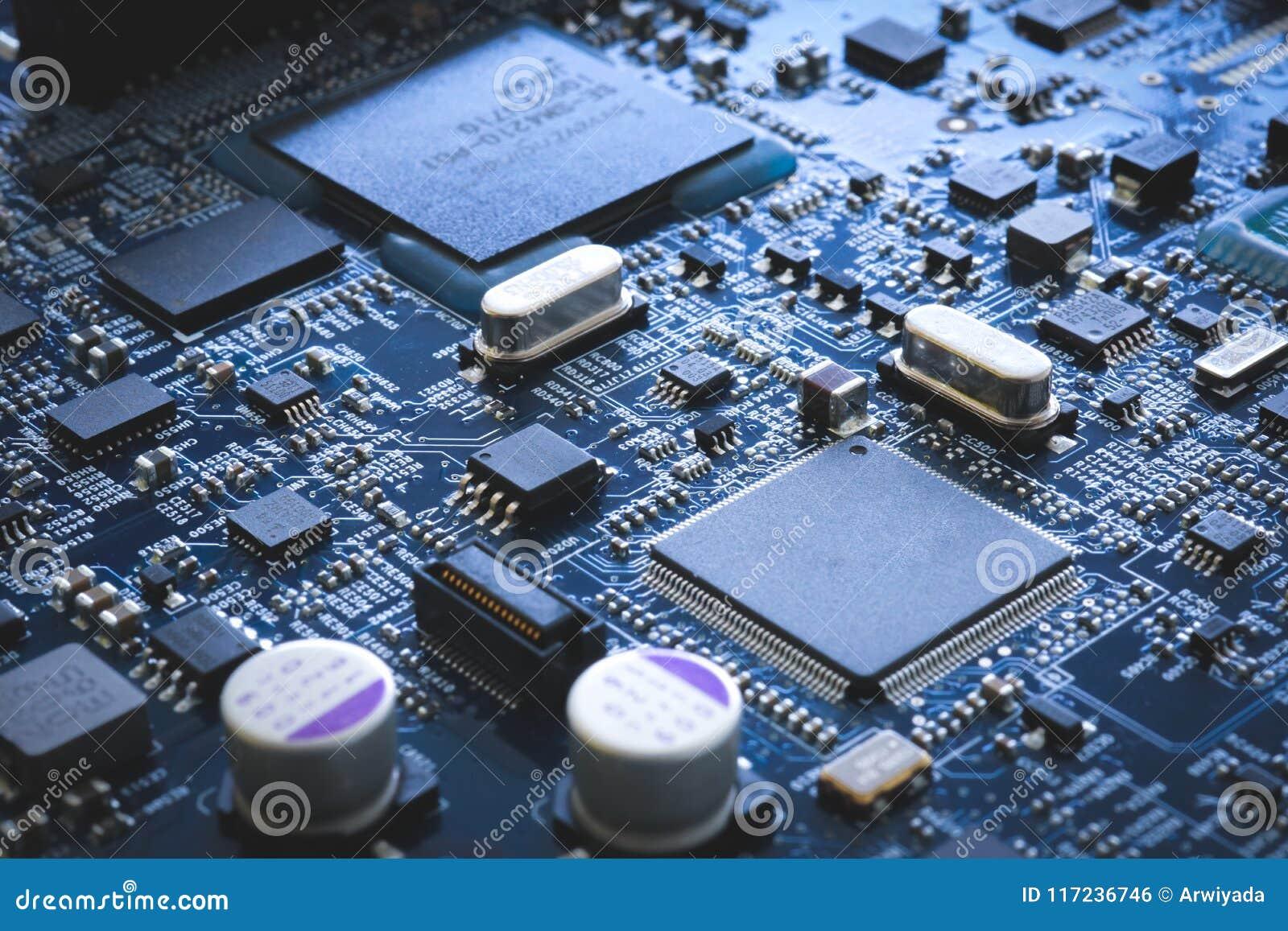 De elektronische halfgeleider van de kringsraad en motherboard hardware