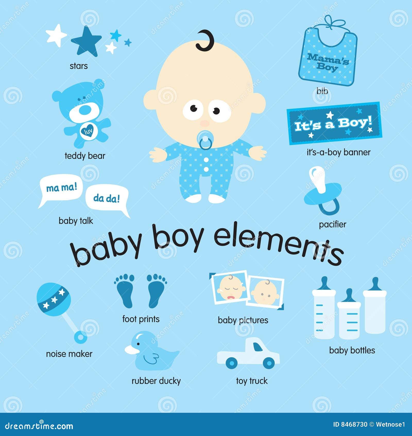 De elementen van de jongen van de baby vector illustratie afbeelding 8468730 - Foto baby jongen ...