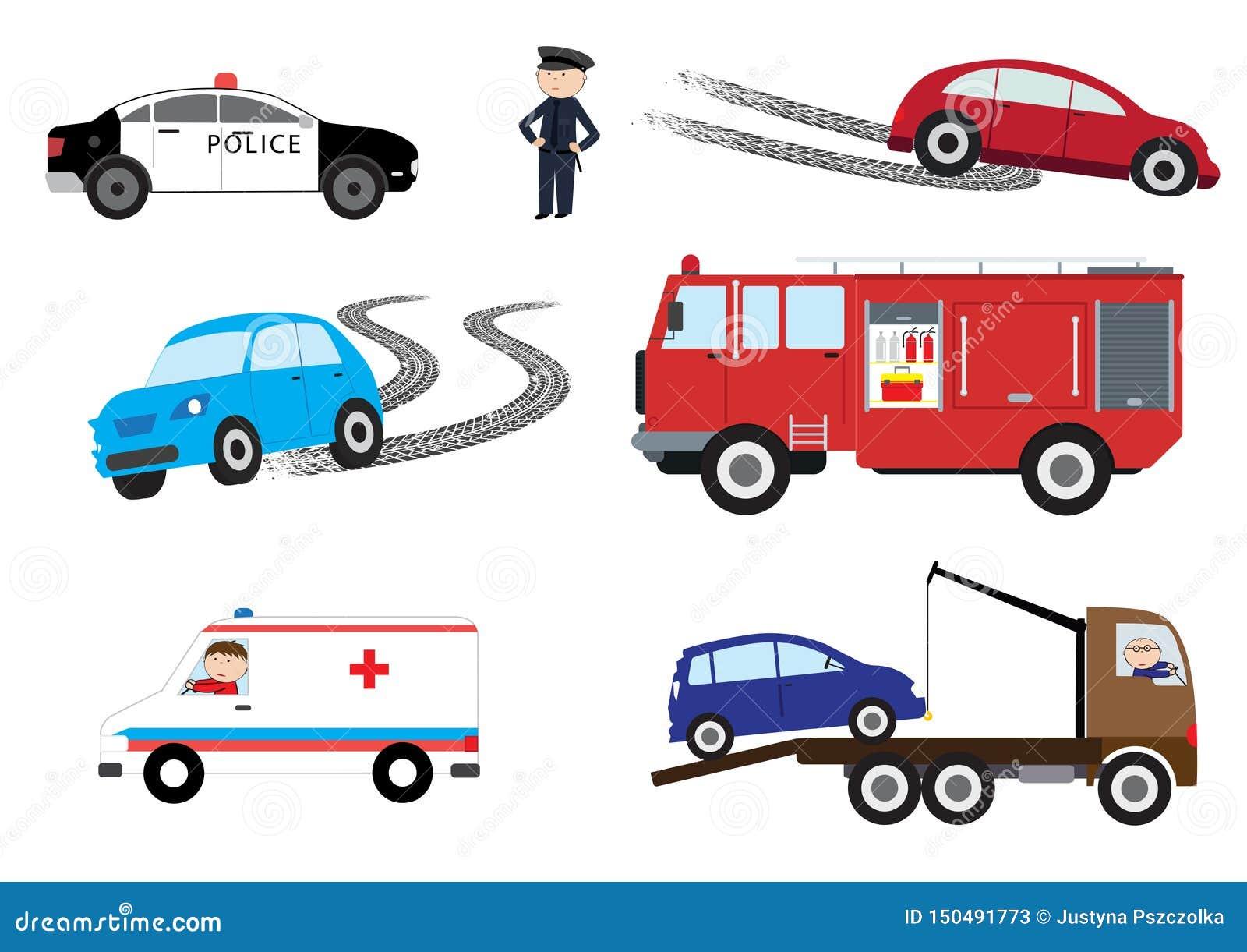 De elementen van het autoongeval - vectorillustratie