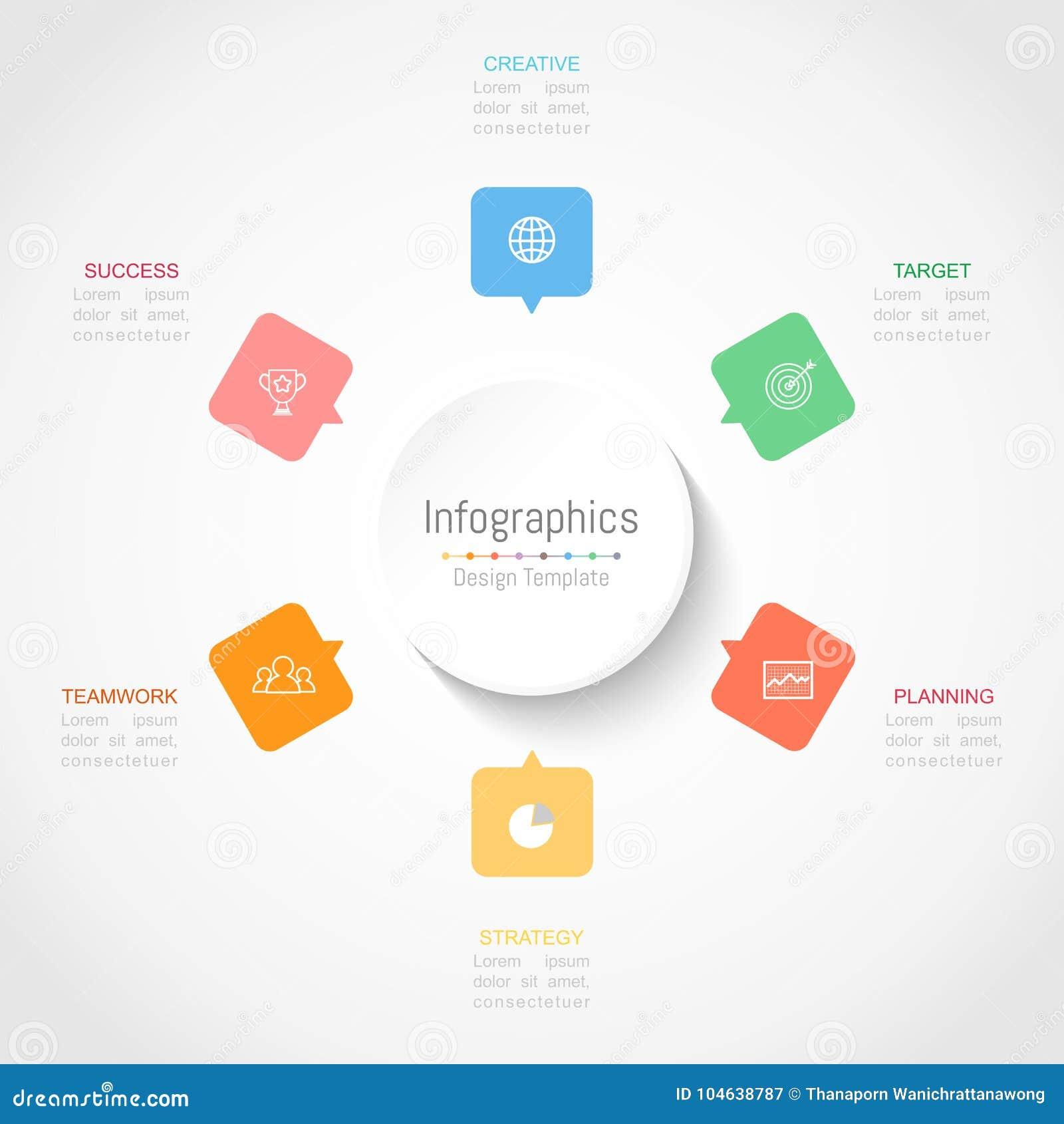 Download De Elementen Van Het Infographicontwerp Voor Uw Bedrijfsgegevens Met 6 Opties Vector Illustratie - Illustratie bestaande uit reclame, pijl: 104638787