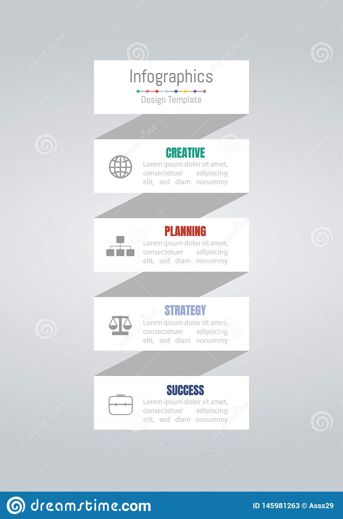 De elementen van het Infographicontwerp voor uw bedrijfsgegevens met 4 opties, delen, stappen, chronologie of processen Vector