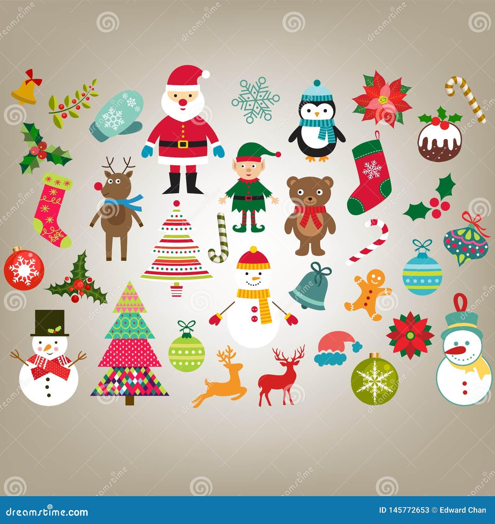 De elementen vectorreeks van het Kerstmisontwerp