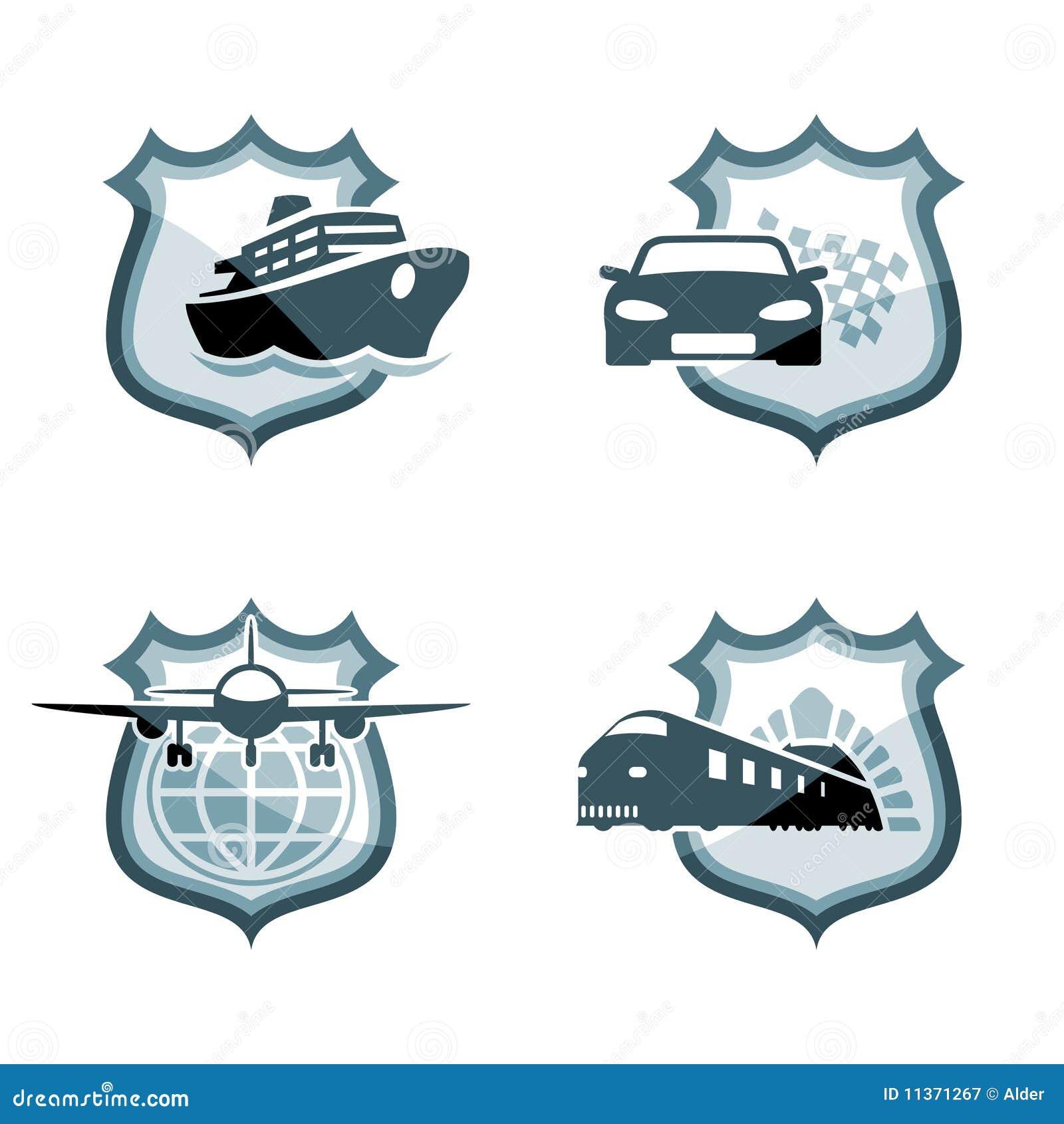 De emblemen van het vervoer