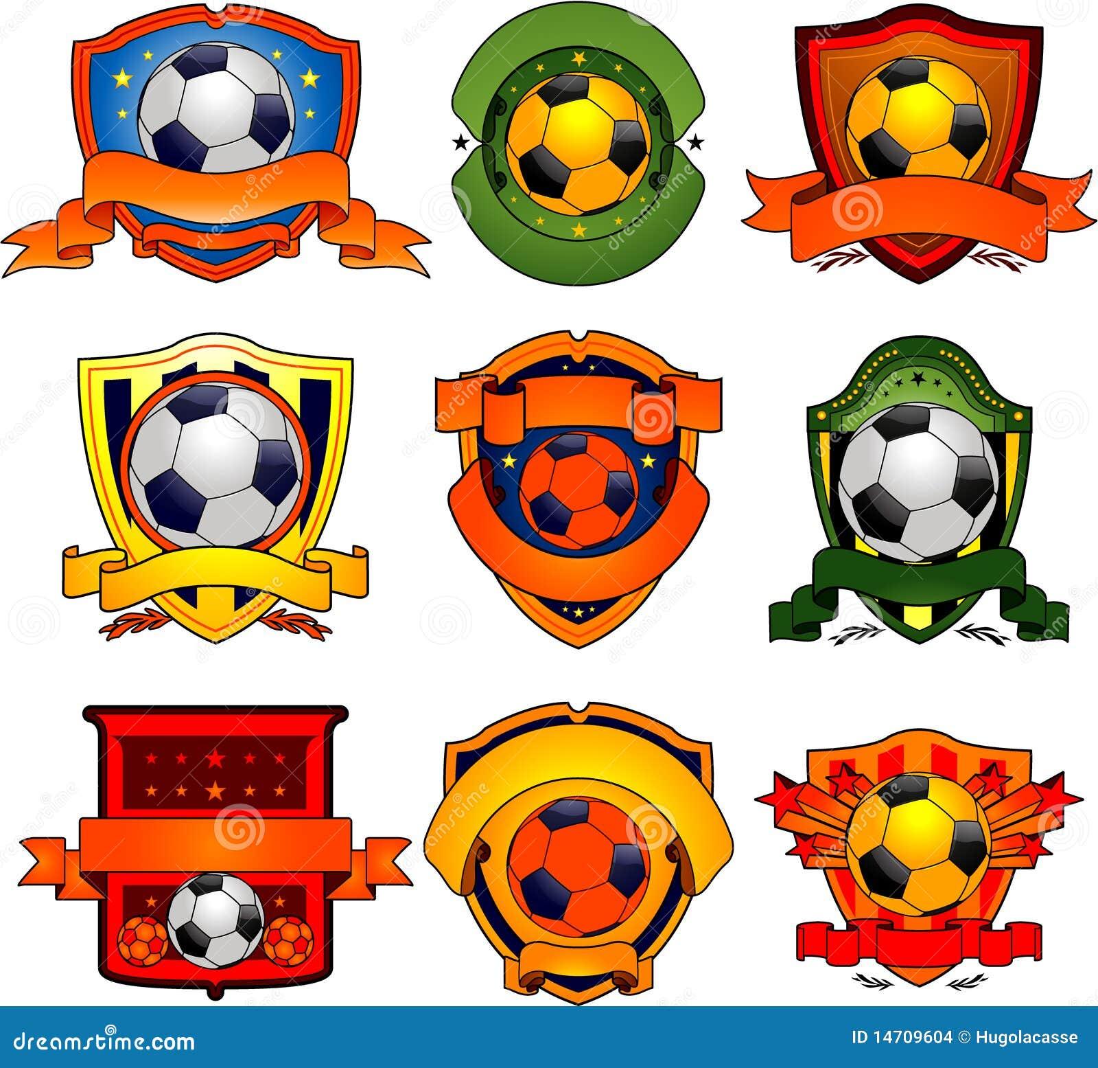 Stock Afbeeldingen: De emblemen van het voetbal