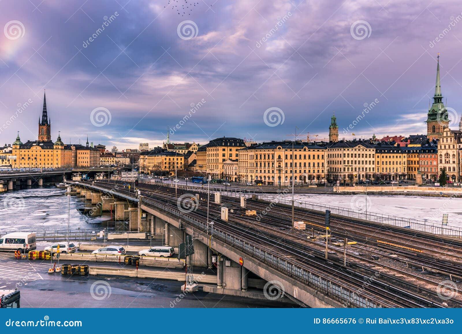 21 de enero de 2017: Ferrocarril del subterráneo en la ciudad vieja de Estocolmo, S
