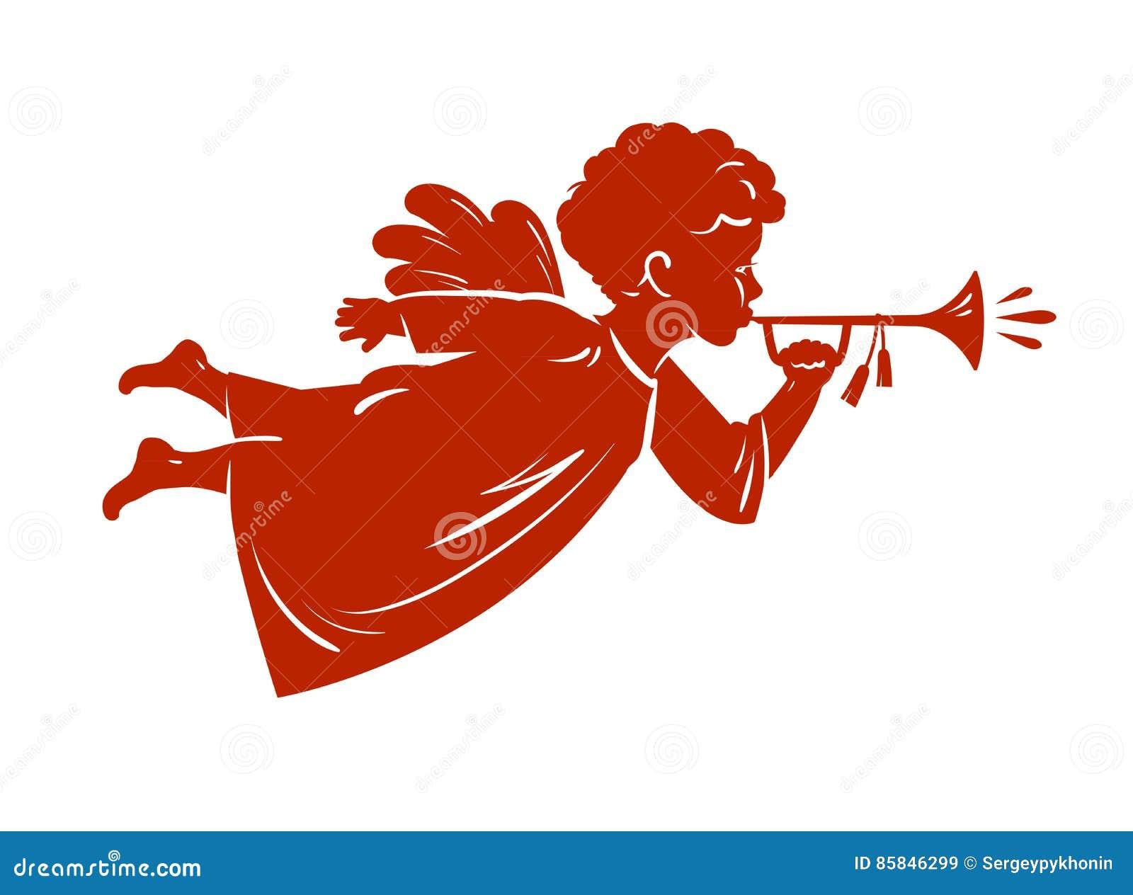 De Engel die van silhouetkerstmis een trompet blazen Cherubijn, Hemels boodschapperssymbool Godsdienst vectorillustratie