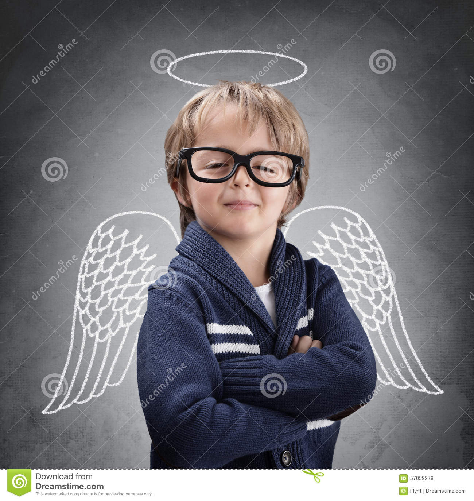 De engel van de schooljongen met vleugels en halo