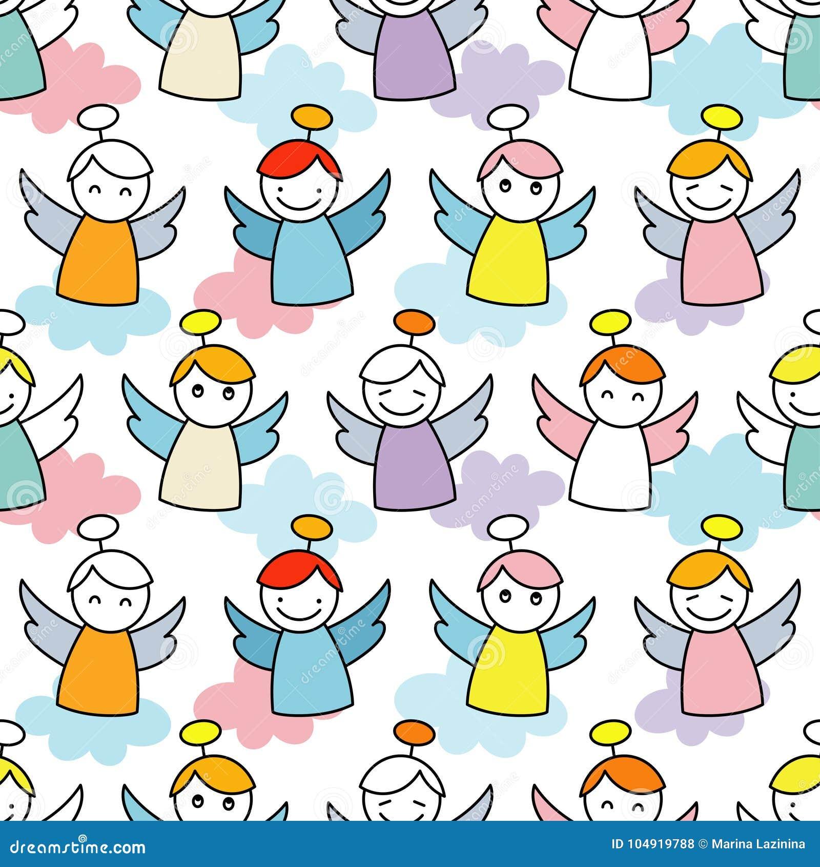 De Engelen van Kerstmis Naadloze achtergrond met engelen Leuk beeldverhaal