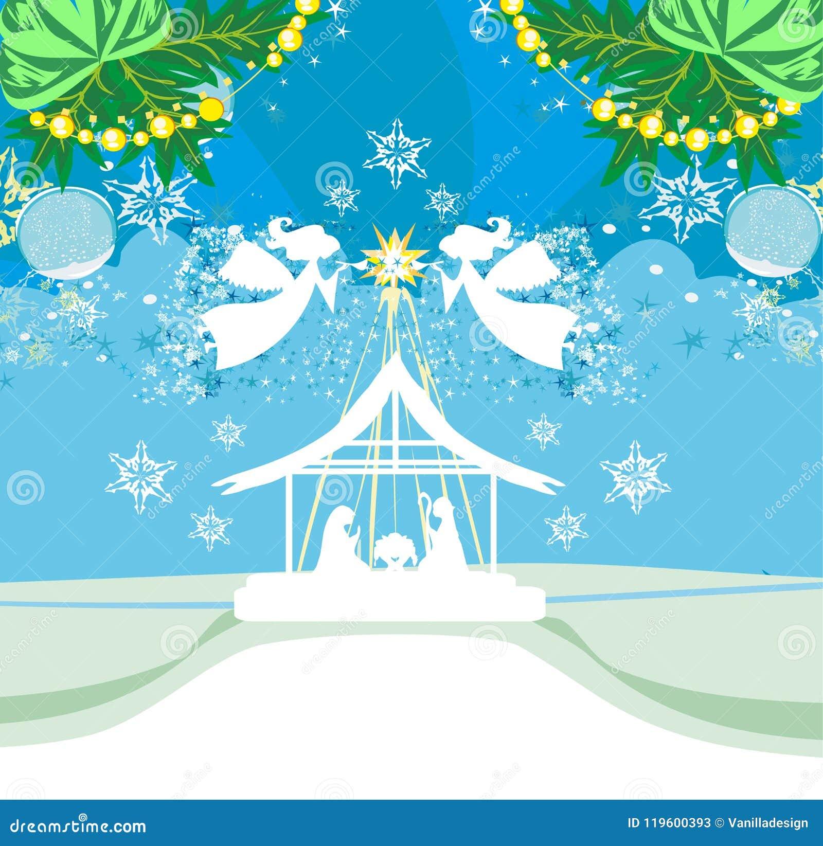 De Engelen van Kerstmis De scènekaart van de Kerstmis godsdienstige geboorte van Christus