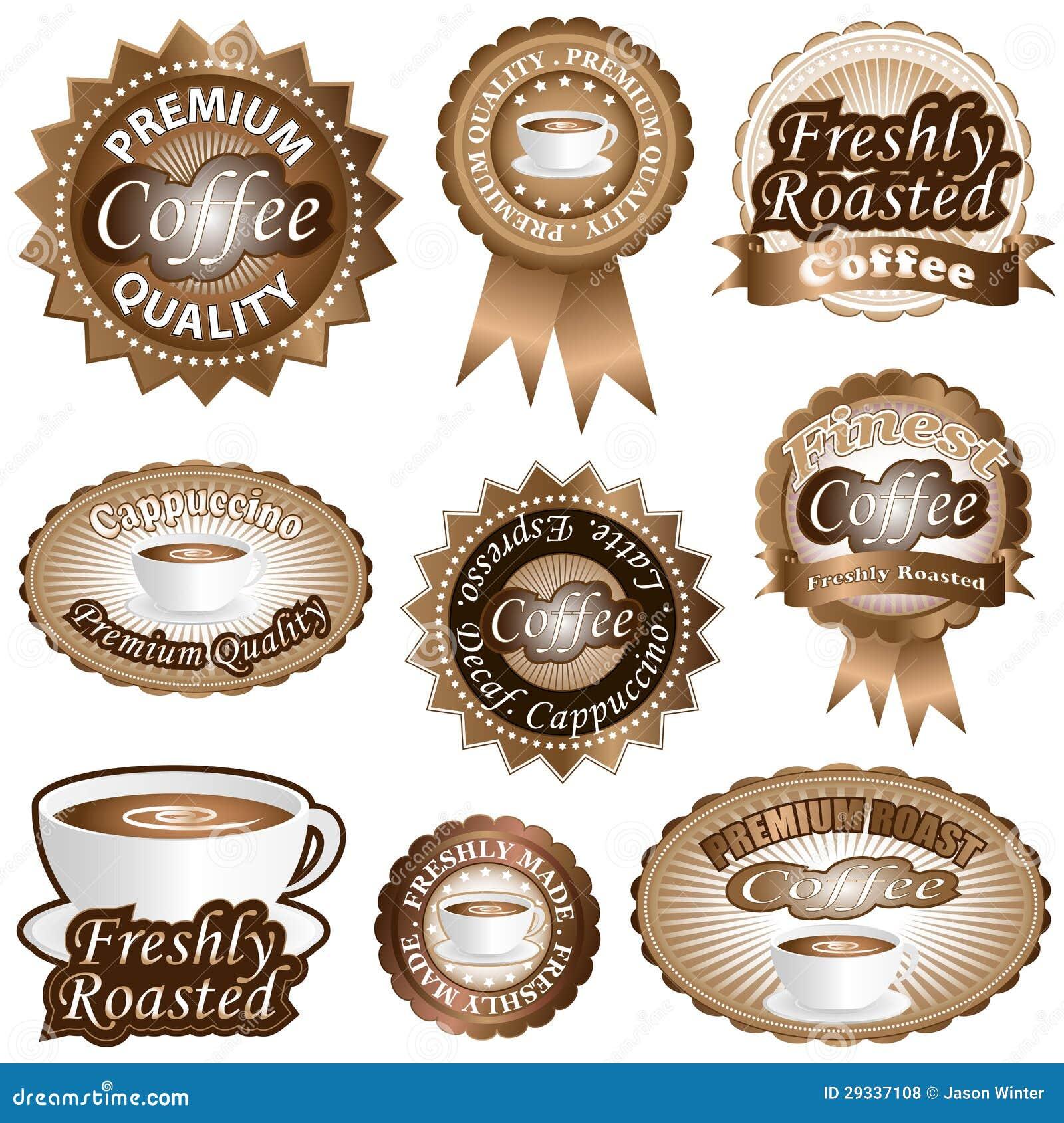 De Etiketten van de koffie