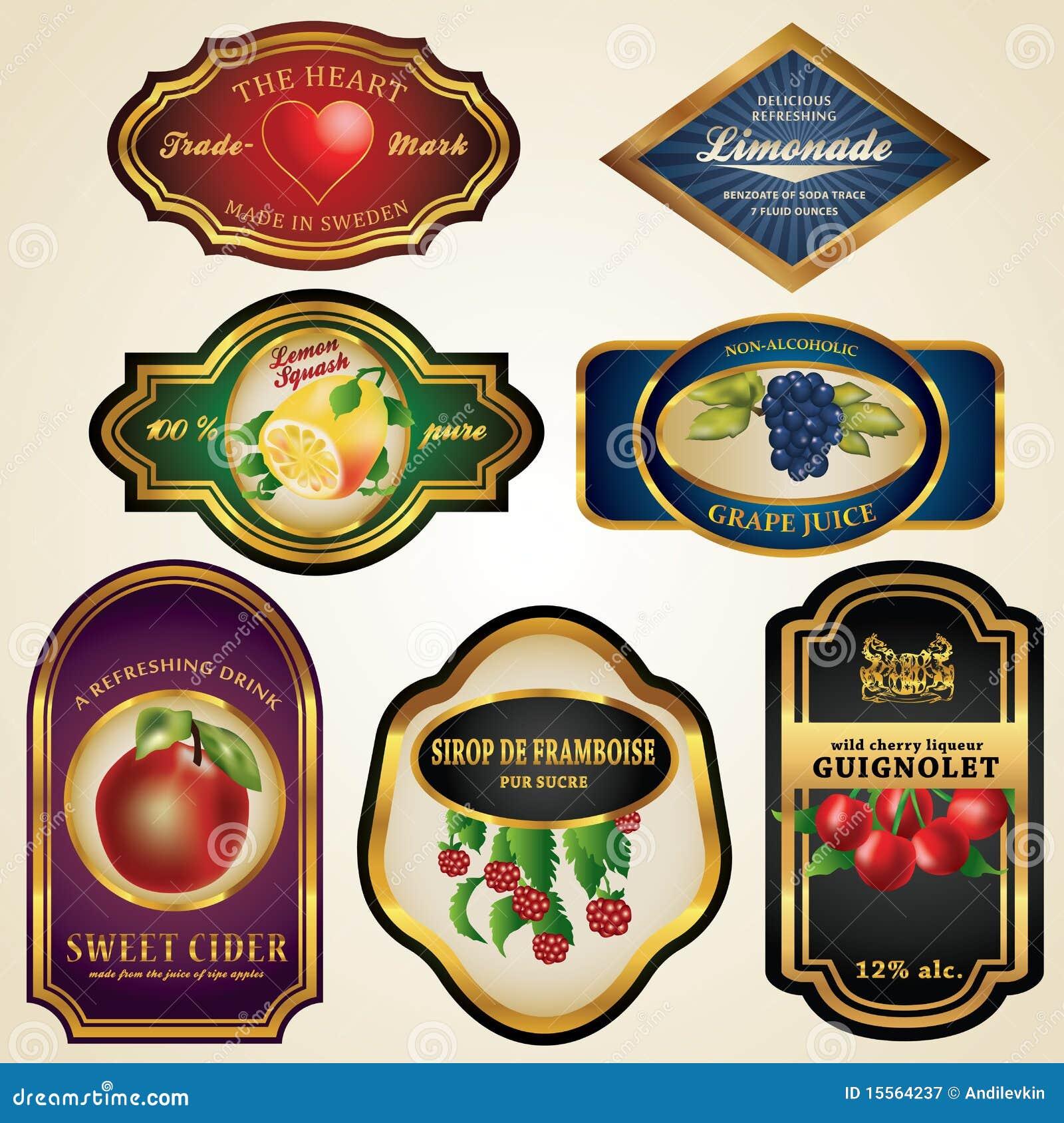 De Etiketten van het Vruchtesap en van de Alcohol van de premie