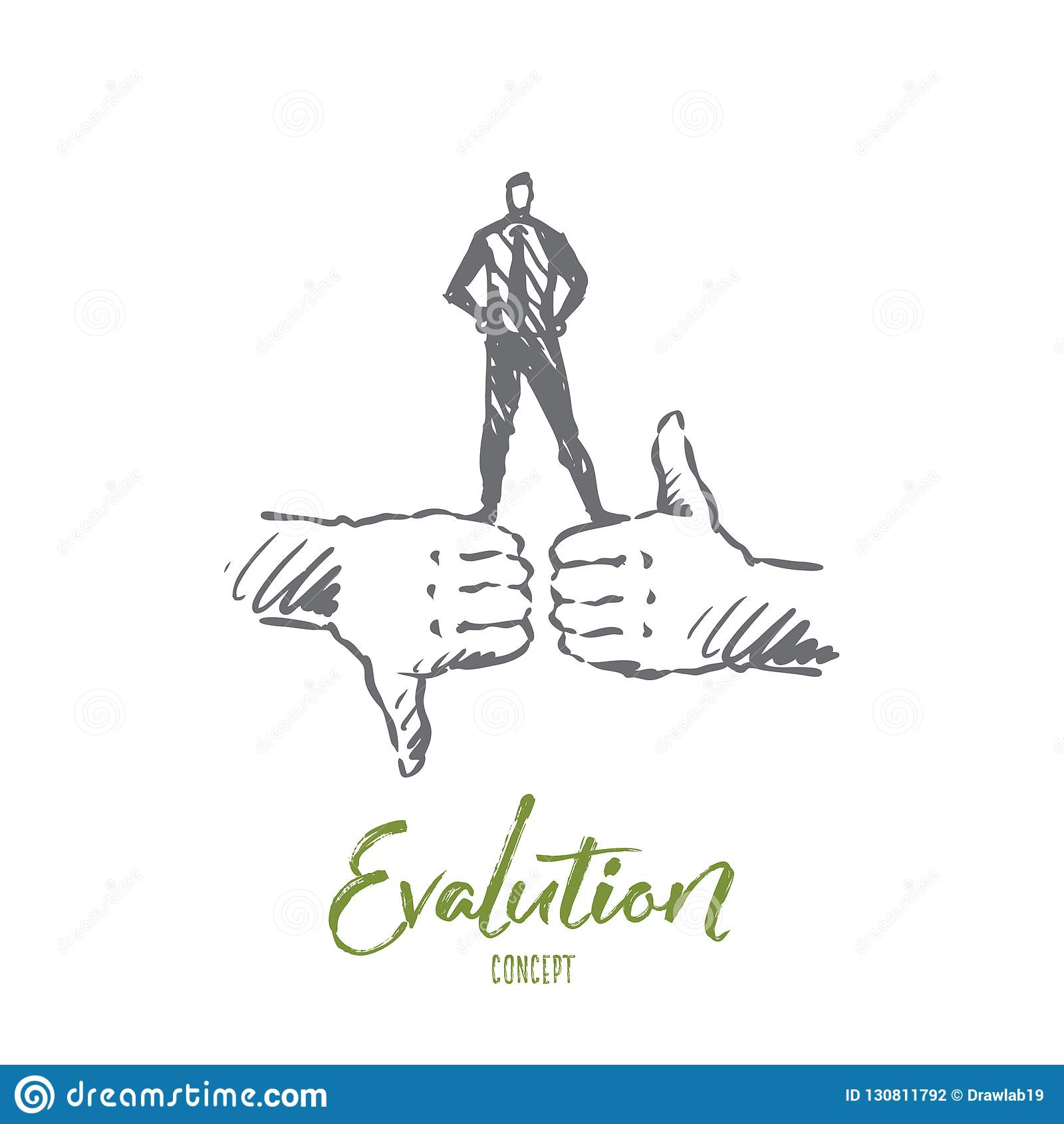 De evaluatie, klant, koppelt, kwaliteitsconcept terug Hand getrokken geïsoleerde vector