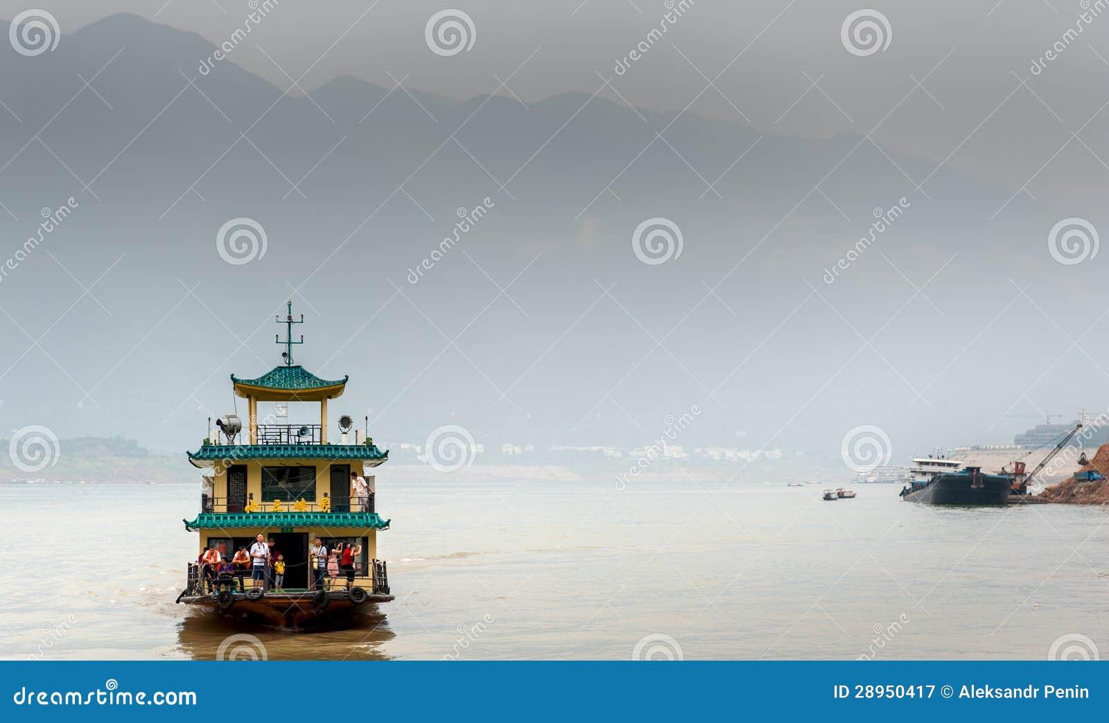 De excursie het schip vaart op de Rivier Yangtze