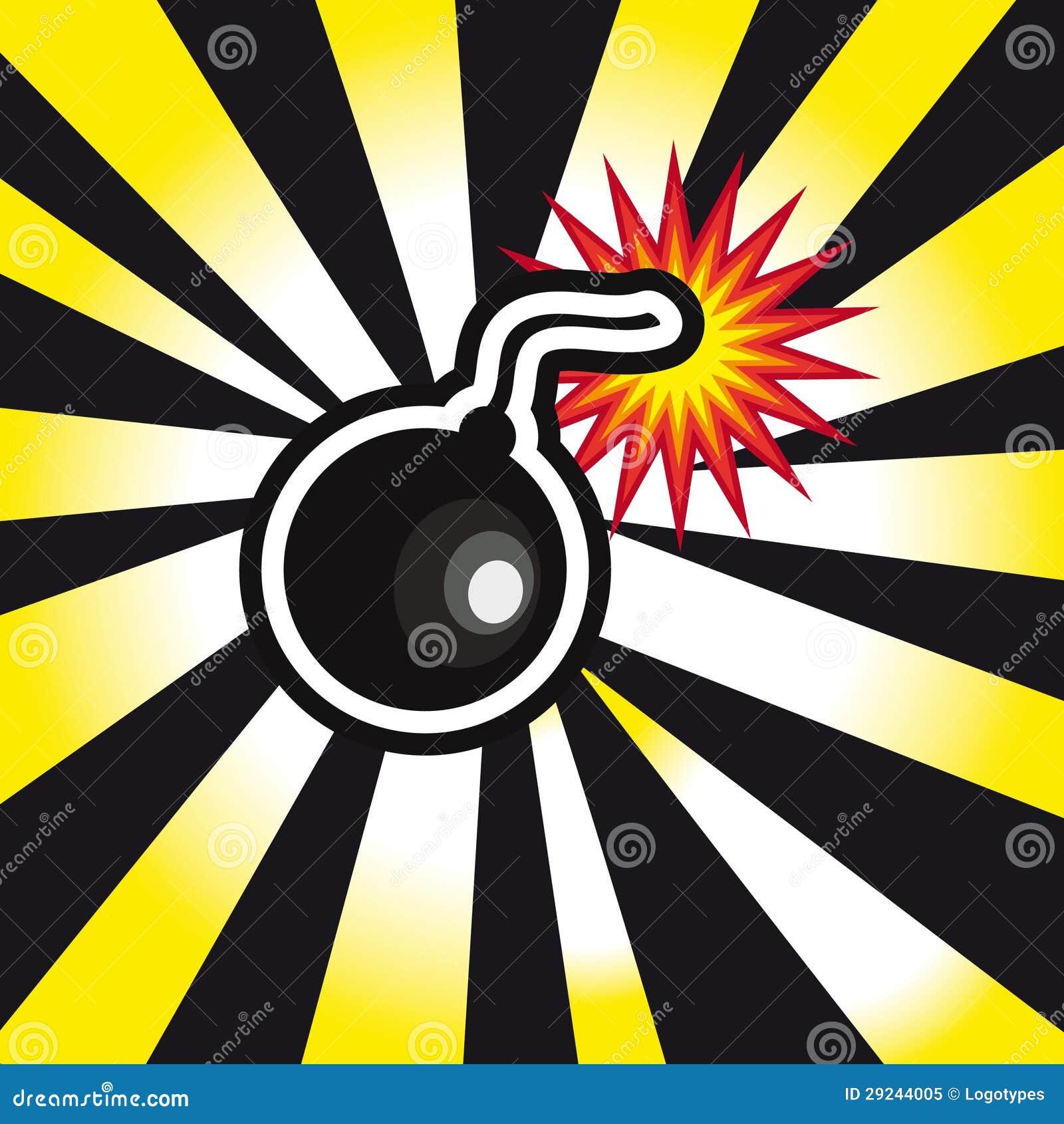 de explosie de bom het gevaar op gele en zwarte