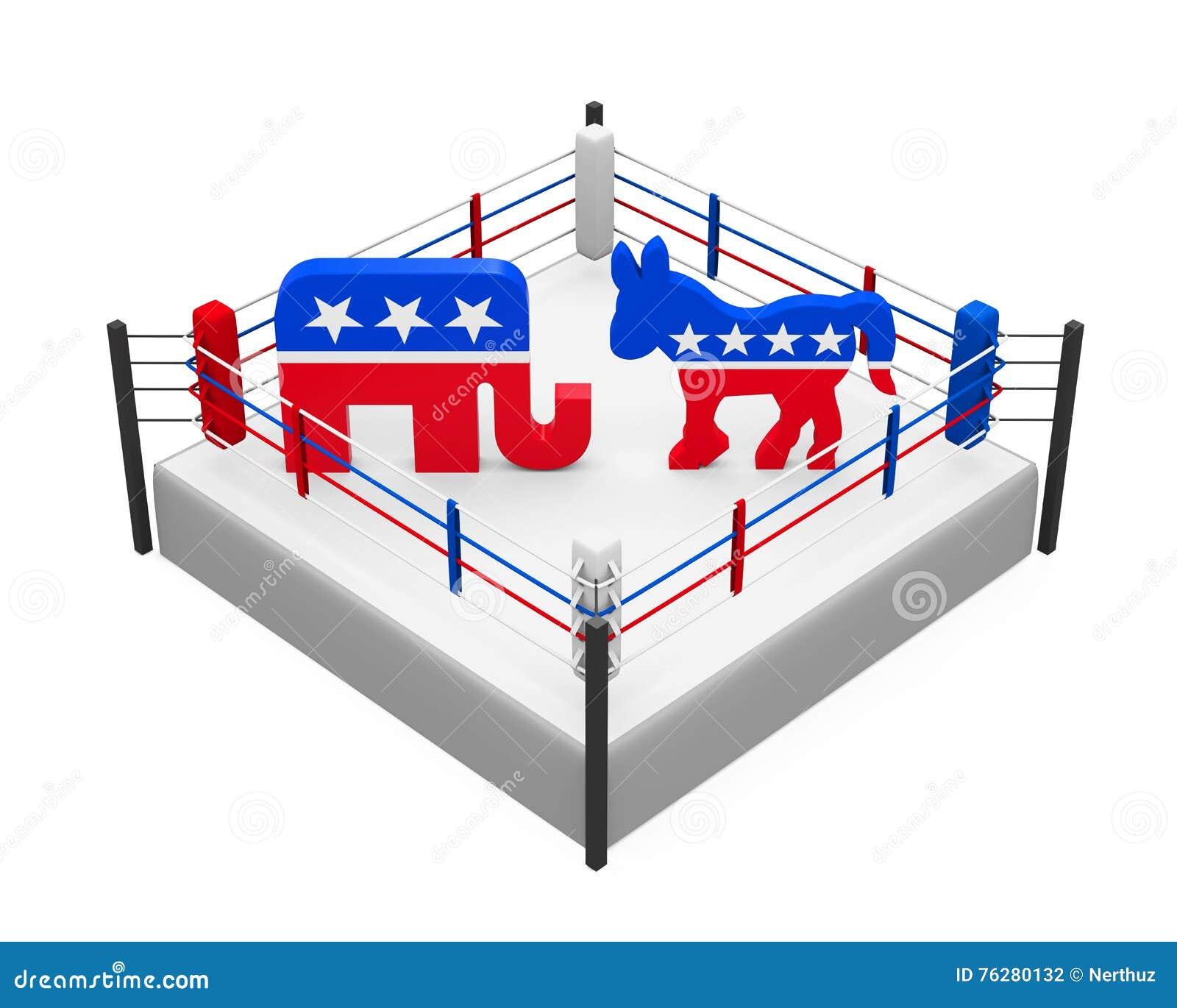 De Ezel van de democraat en Republikeinse Olifant