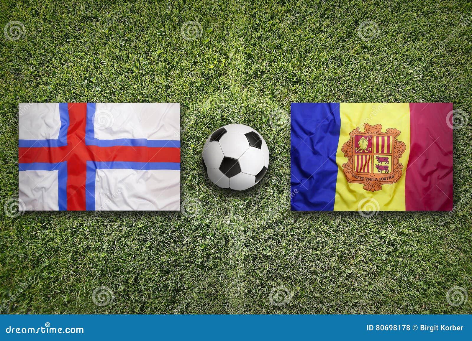De Faeröer versus De vlaggen van Andorra op voetbalgebied