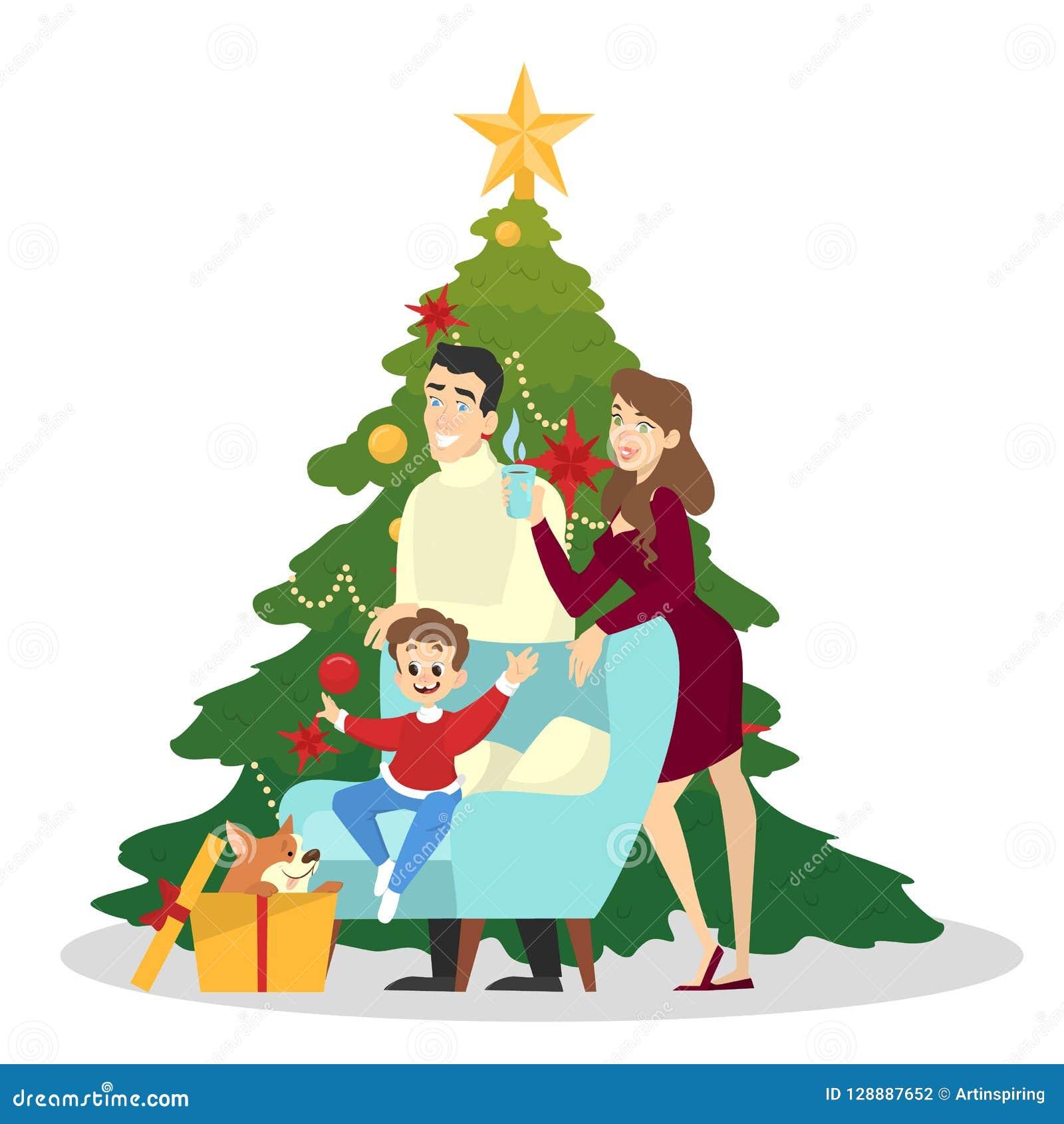 De familie heeft samen pret bij Kerstmisboom
