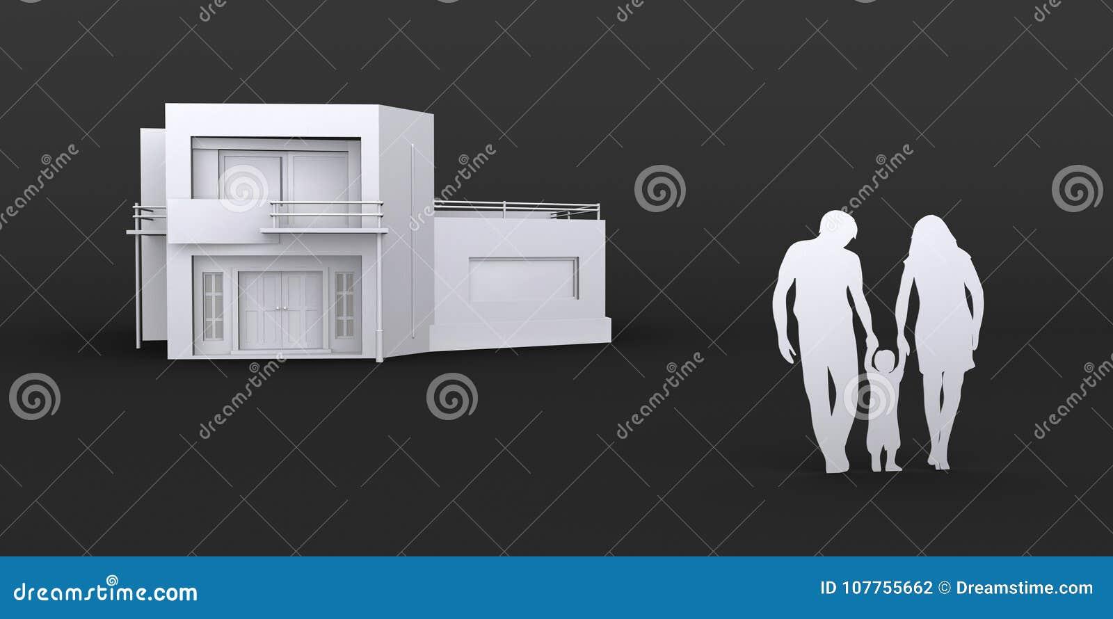 De familie koopt nieuw huis, 3D grafische illustratie